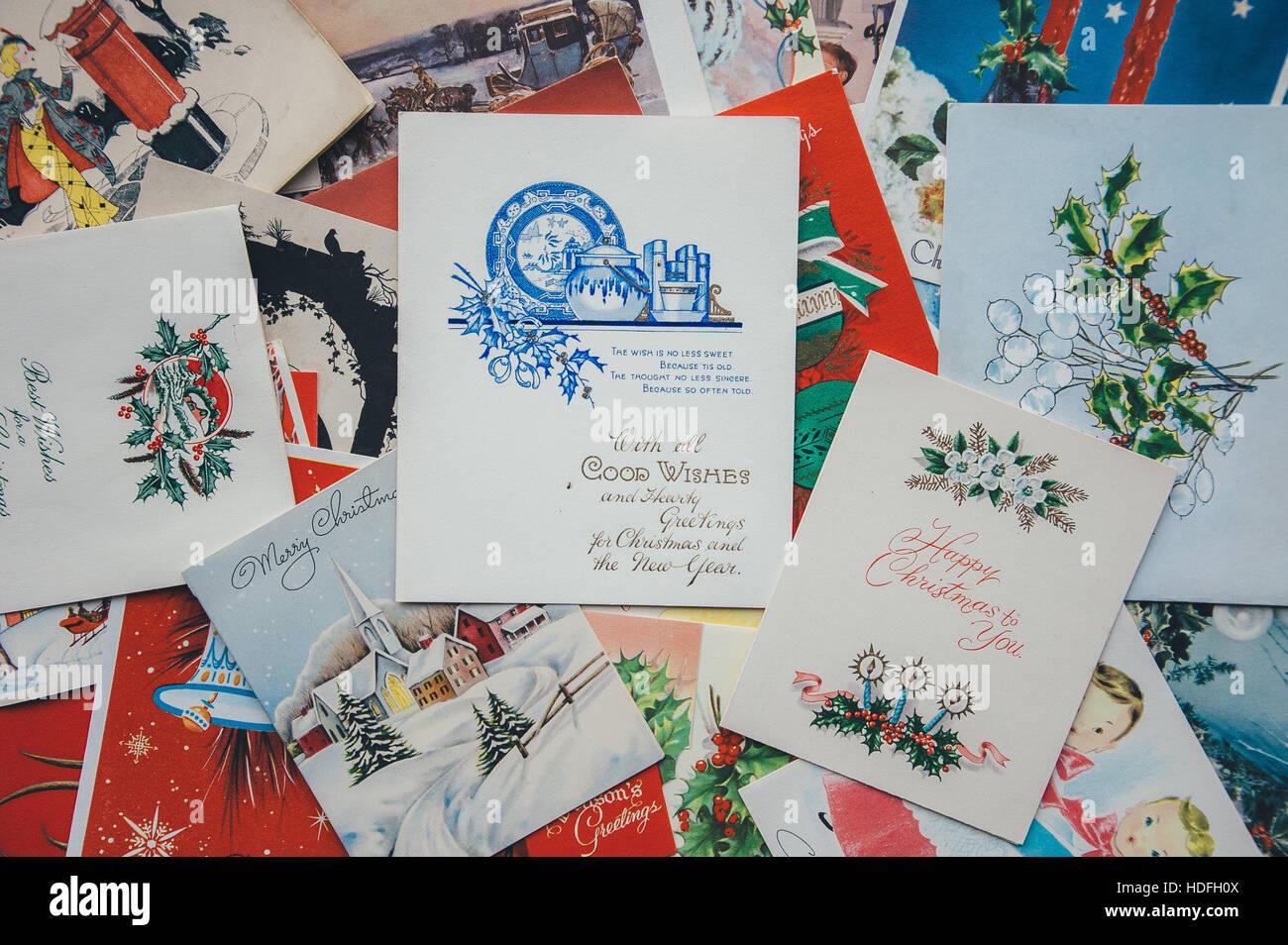 Retro Christmas Cards Stock Photos & Retro Christmas Cards Stock ...