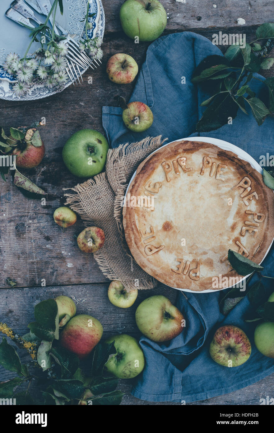 Home made apple pie - Stock Image