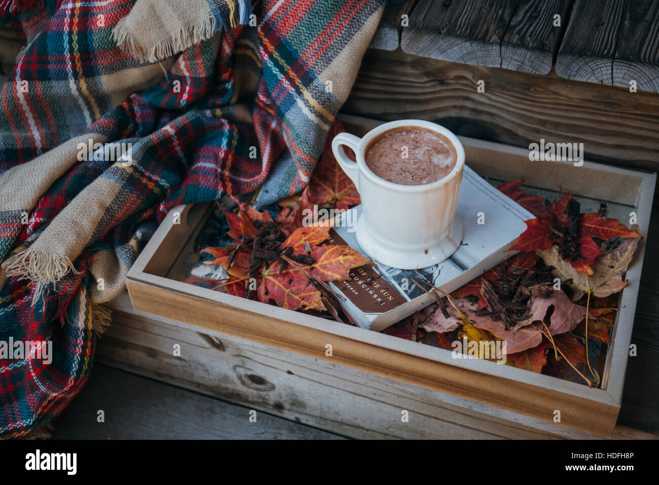 Winter scene with hot chocolate - Stock Image