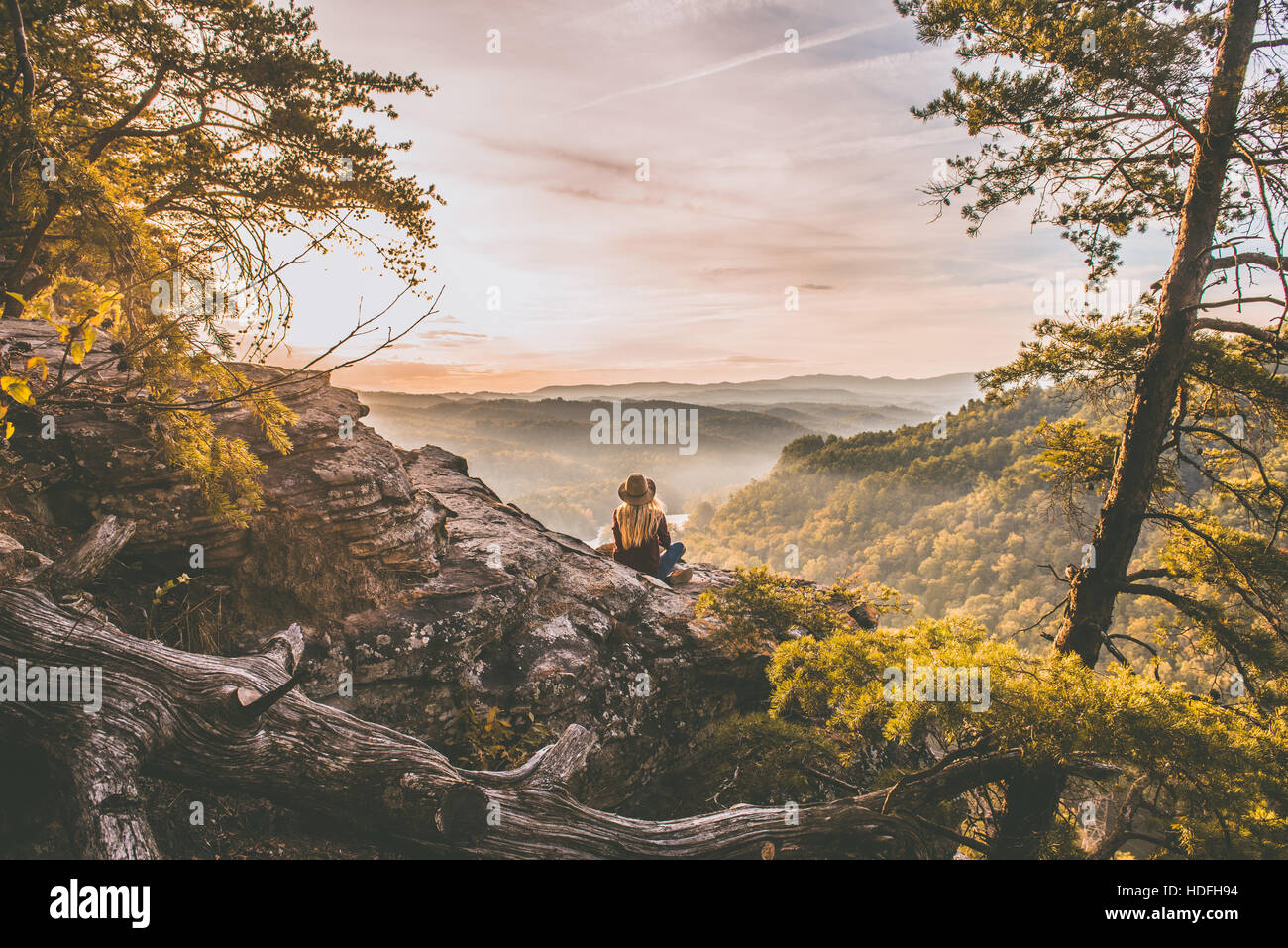 Woman in the wilderness - Stock Image