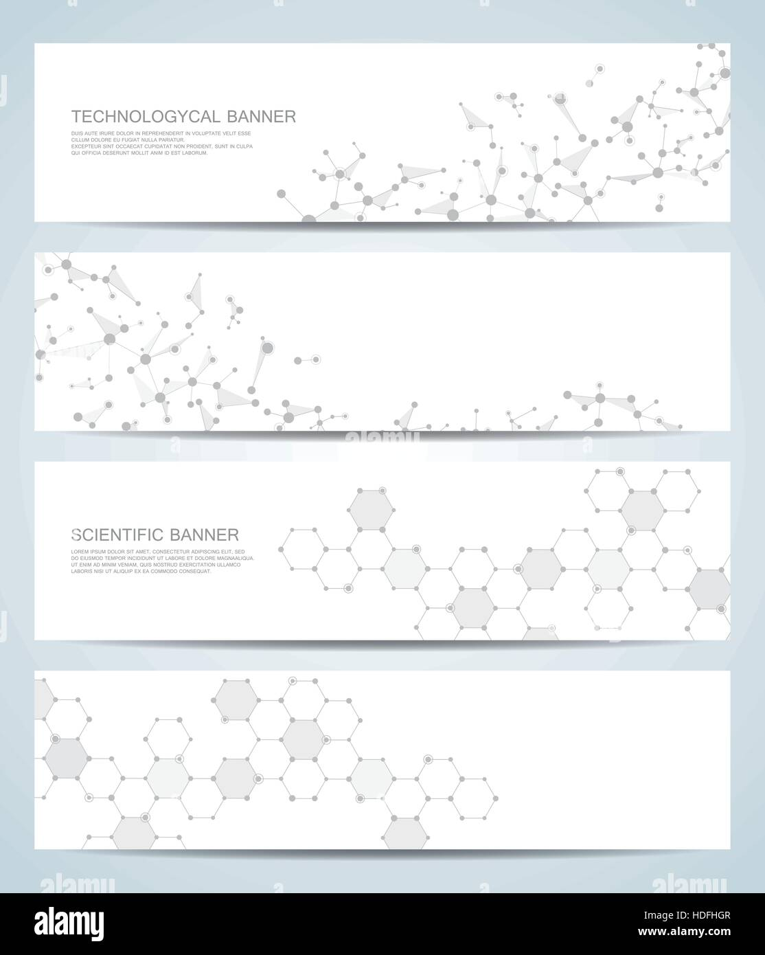 Set of modern scientific banners. Molecule structure DNA and neurons. Abstract background. Medicine, science, technology. - Stock Image