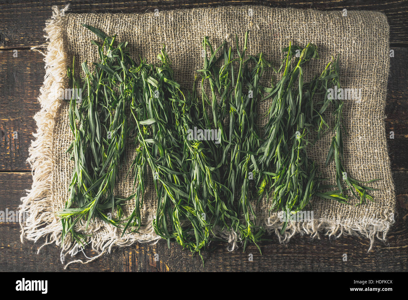 Tarragon on the canvas on the wooden table top view - Stock Image