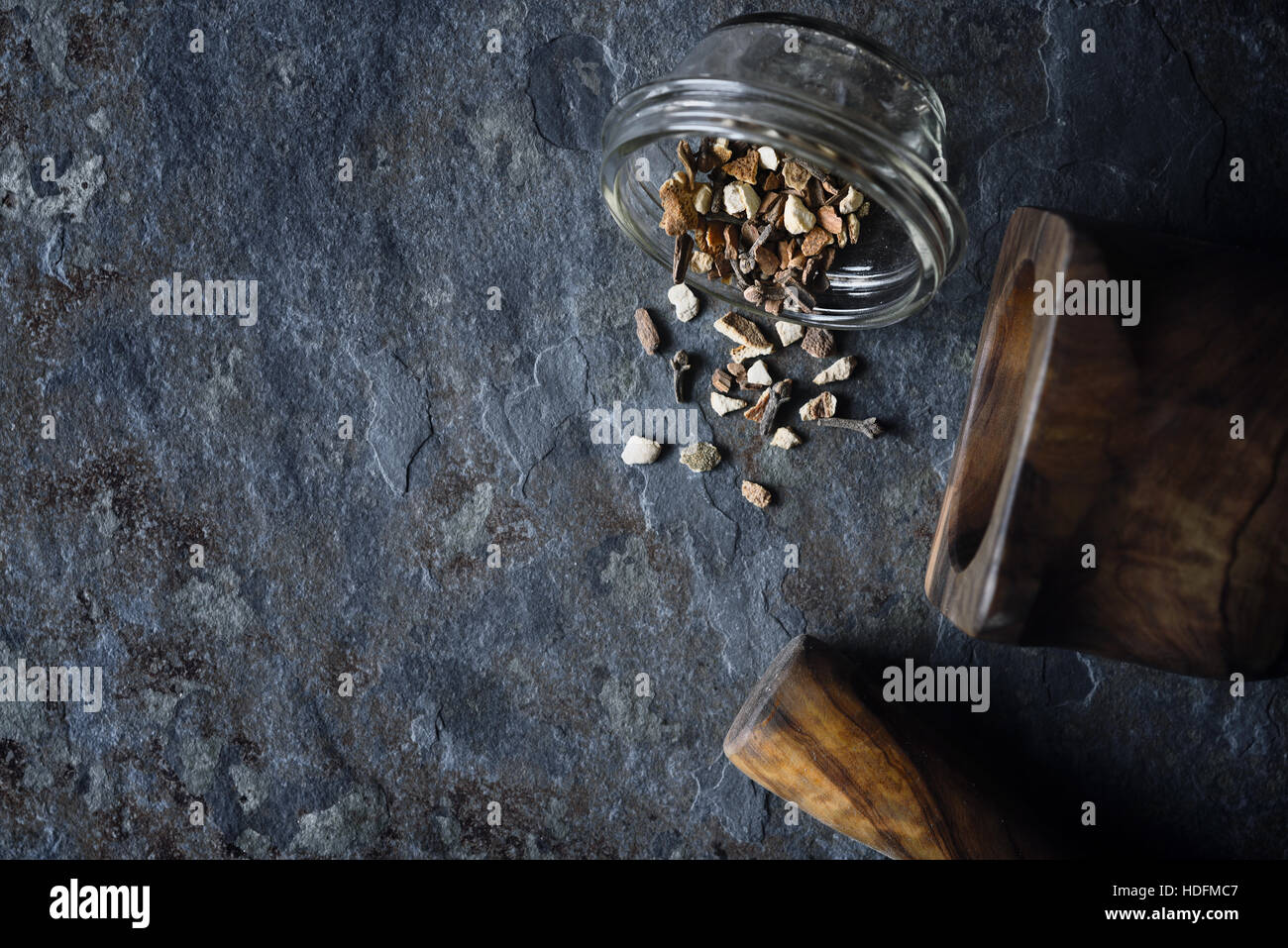 Spices mix on the stone background top view - Stock Image