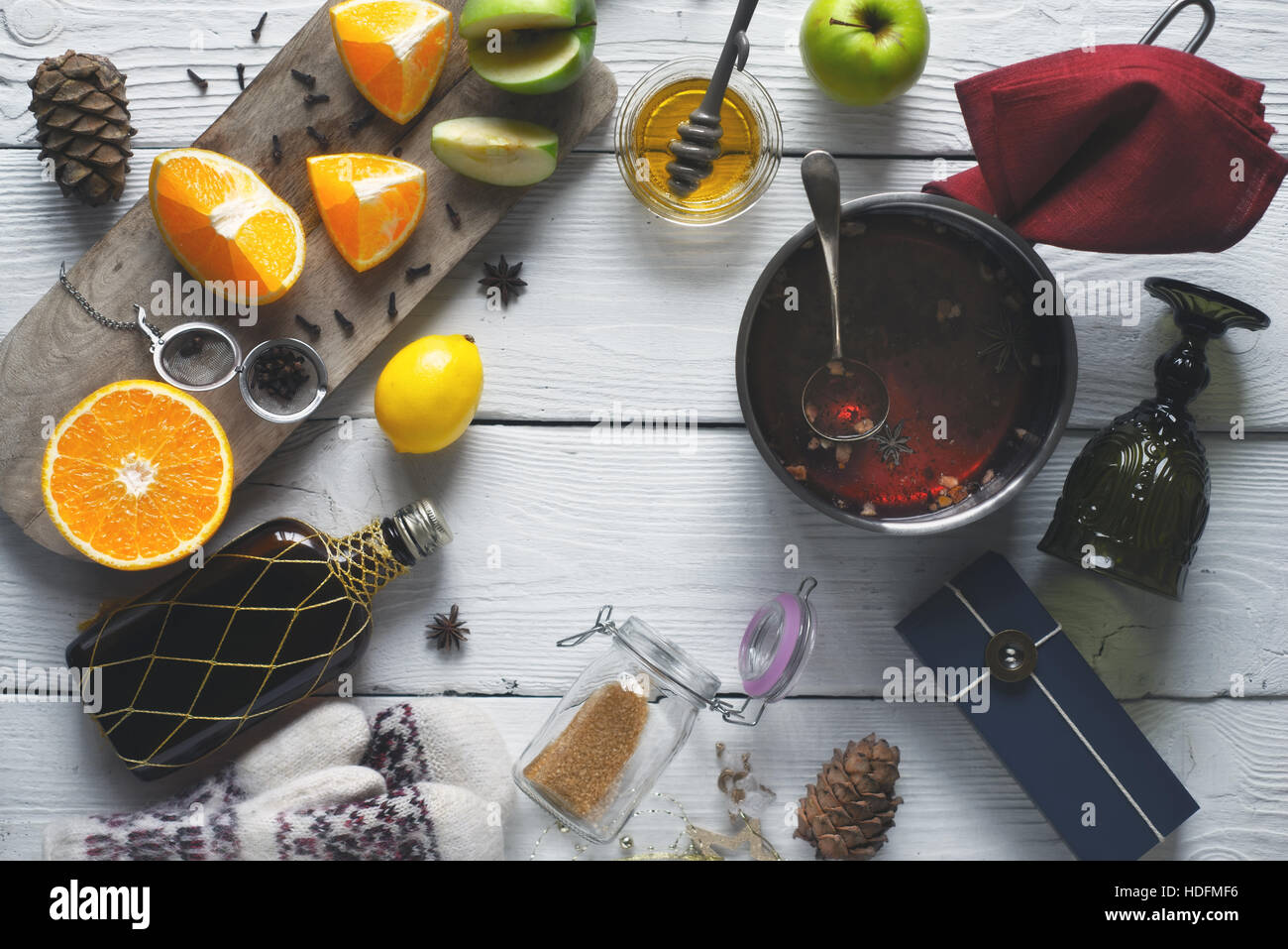 Ingredients for mulled wine on the white wooden table top view - Stock Image