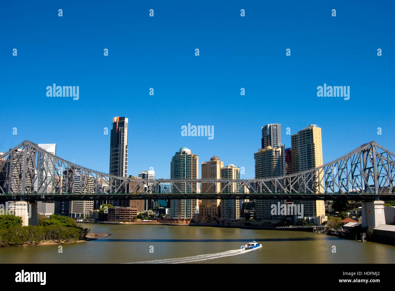 Brisbane City Australia showing the Storey Bridge. - Stock Image