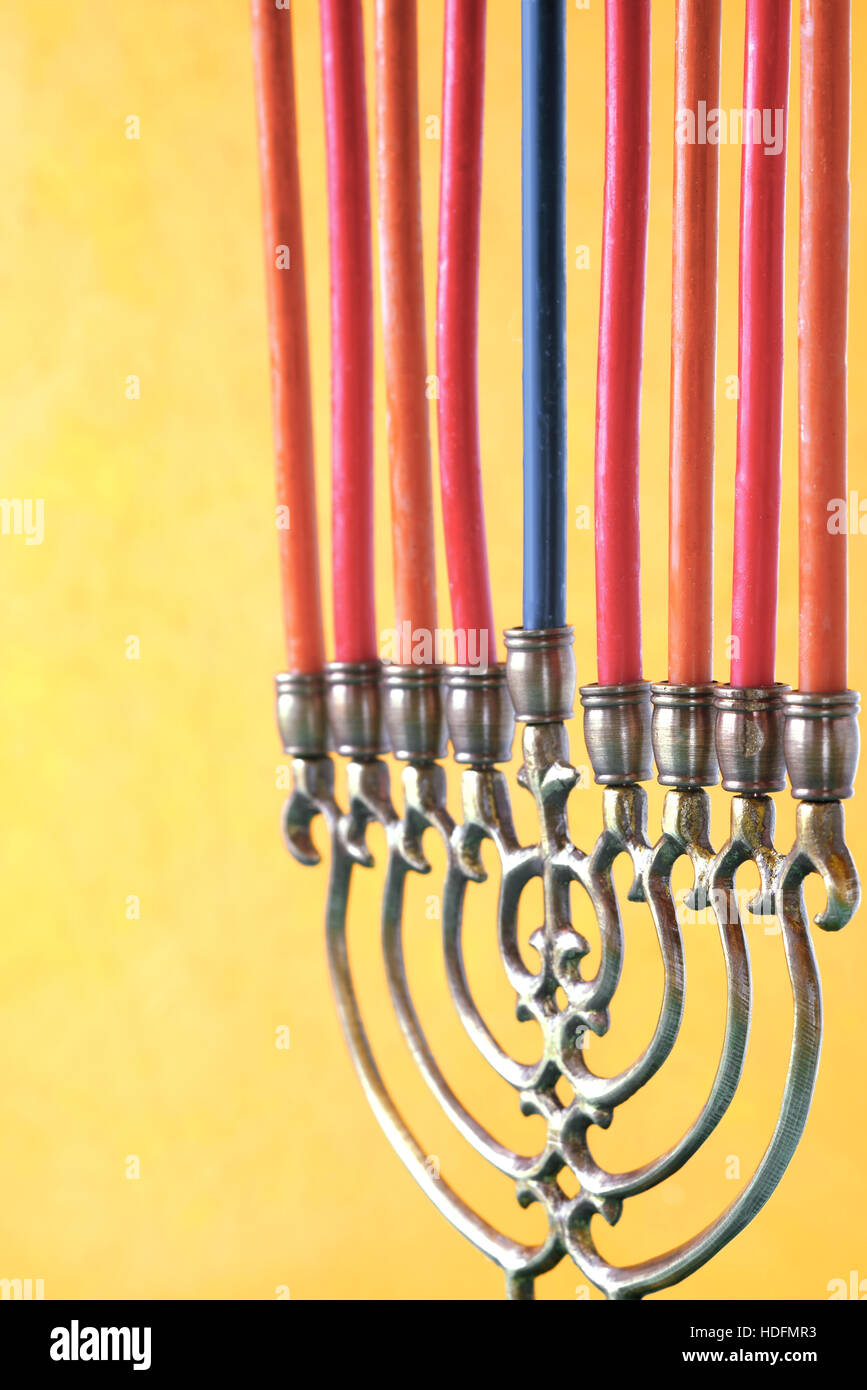 Hanukkah menorah with candles vertical - Stock Image