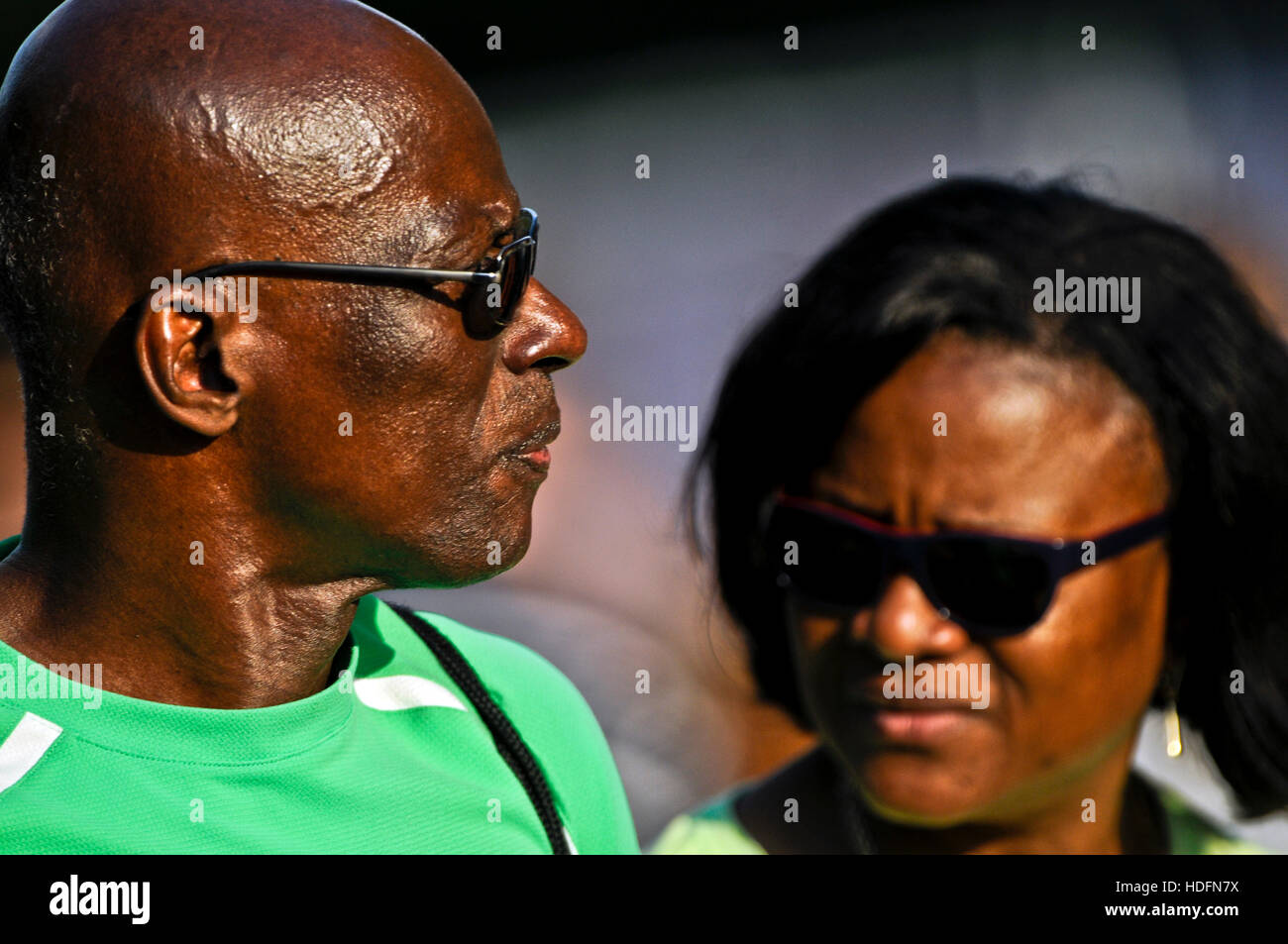 African couple, wearing sunglasses - Stock Image