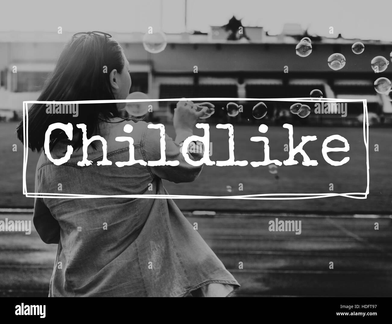 Childhood Childlike Child Children Kids Offspring Concept - Stock Image