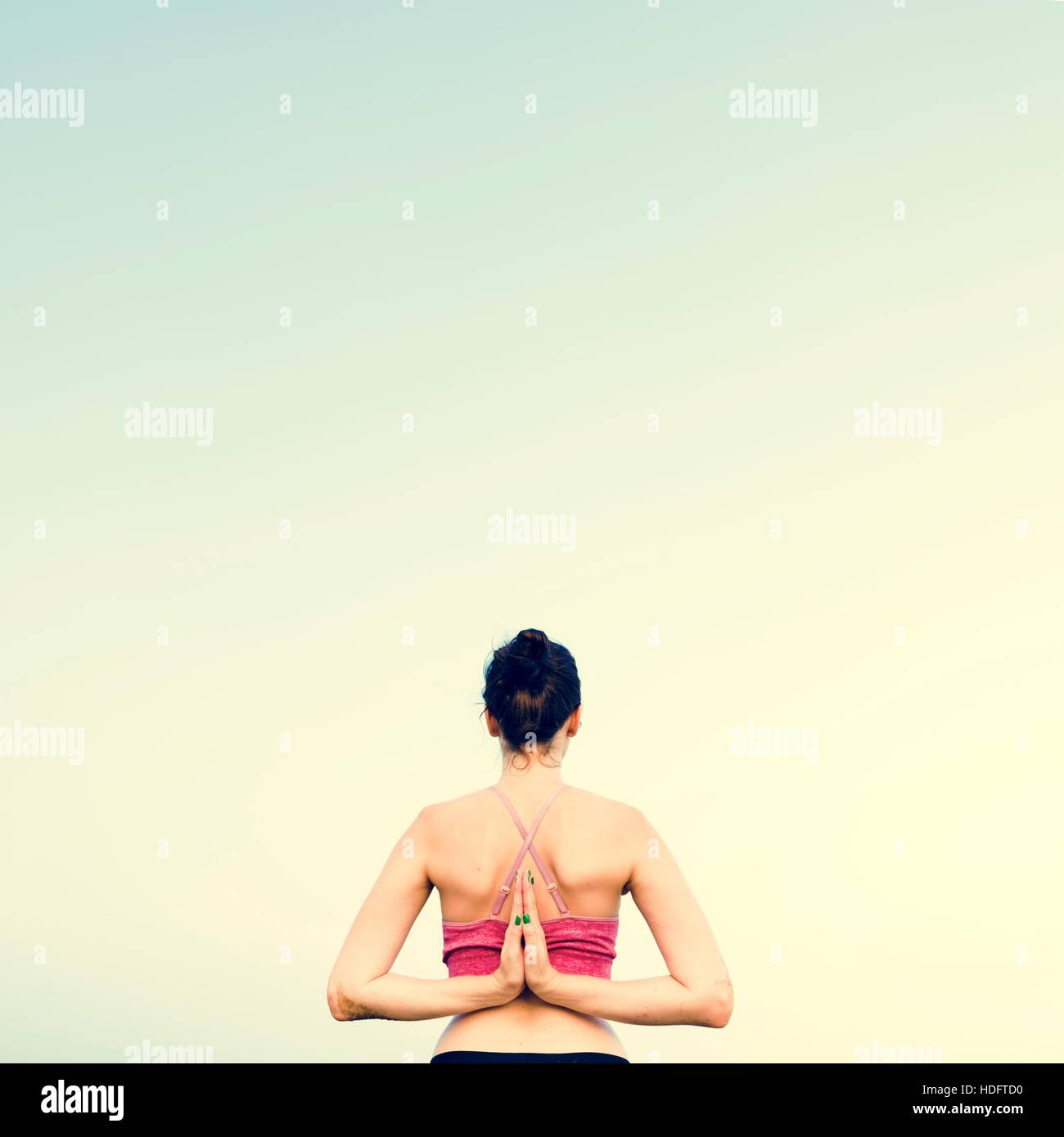 Yoga Meditation Concentration Peaceful Serene Relaxation Concept - Stock Image