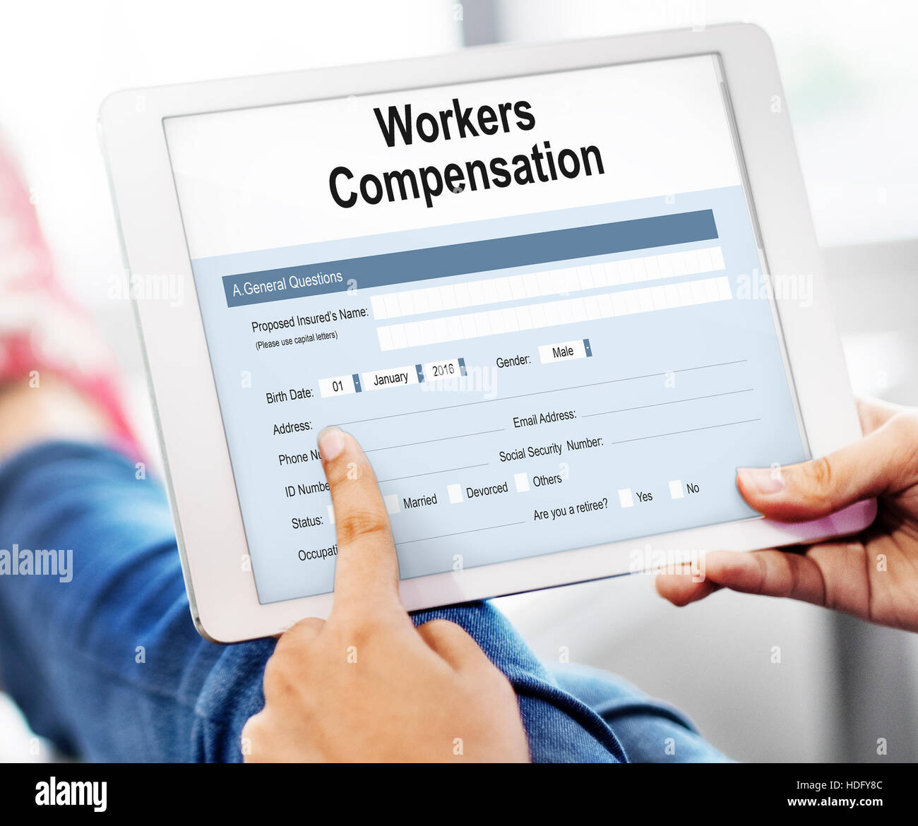 Work Injury Compensation Form Concept - Stock Image