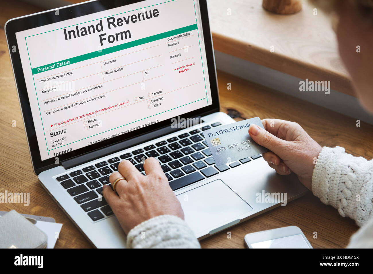 Inland Revenue Form Details Concept - Stock Image