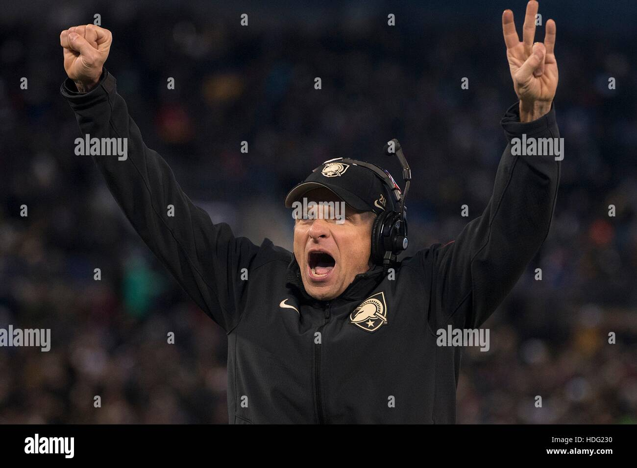 Army West Point Head Coach, Jeff Monken celebrates after winning the 117th Army Navy Game at M&T Bank Stadium - Stock Image
