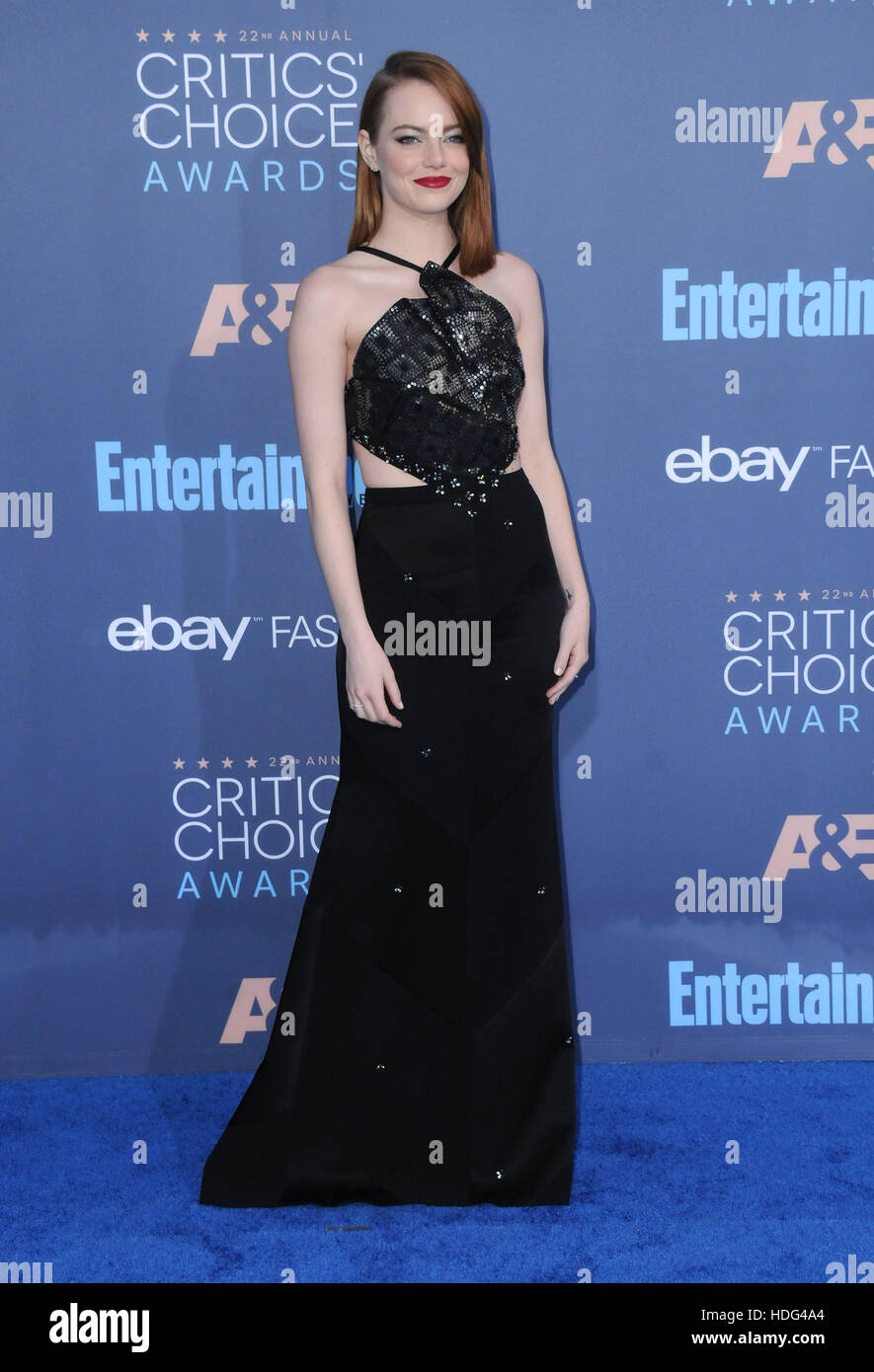 Santa Monica, California, USA. 11th Dec, 2016. Emma Stone. The 22nd Annual Critics' Choice Awards held at Barker - Stock Image