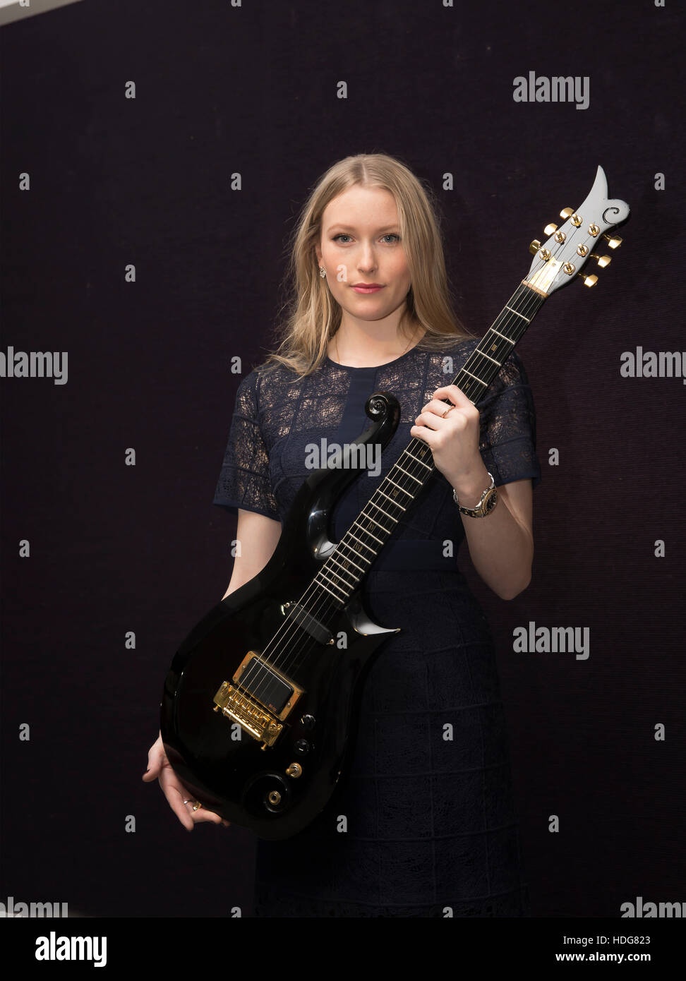 Knightsbridge, UK. 12th Dec, 2016. Cloud Guitar custom made for Prince on show at Bonhams ahead of the Entertainment - Stock Image