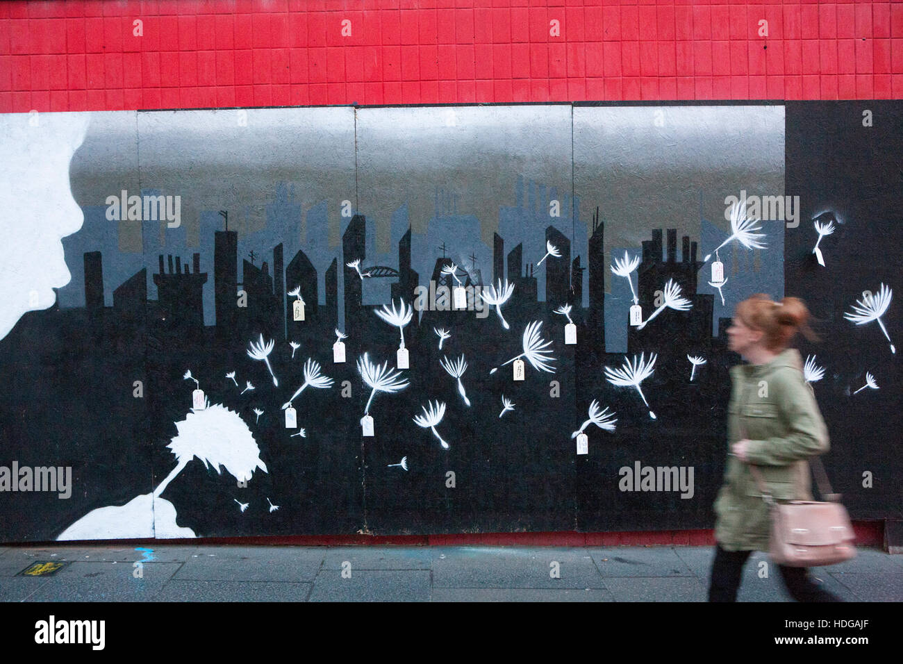 Child Labour Protest art on behalf of Amnesty International, on the streets of Derry, Northern Ireland. - Stock Image