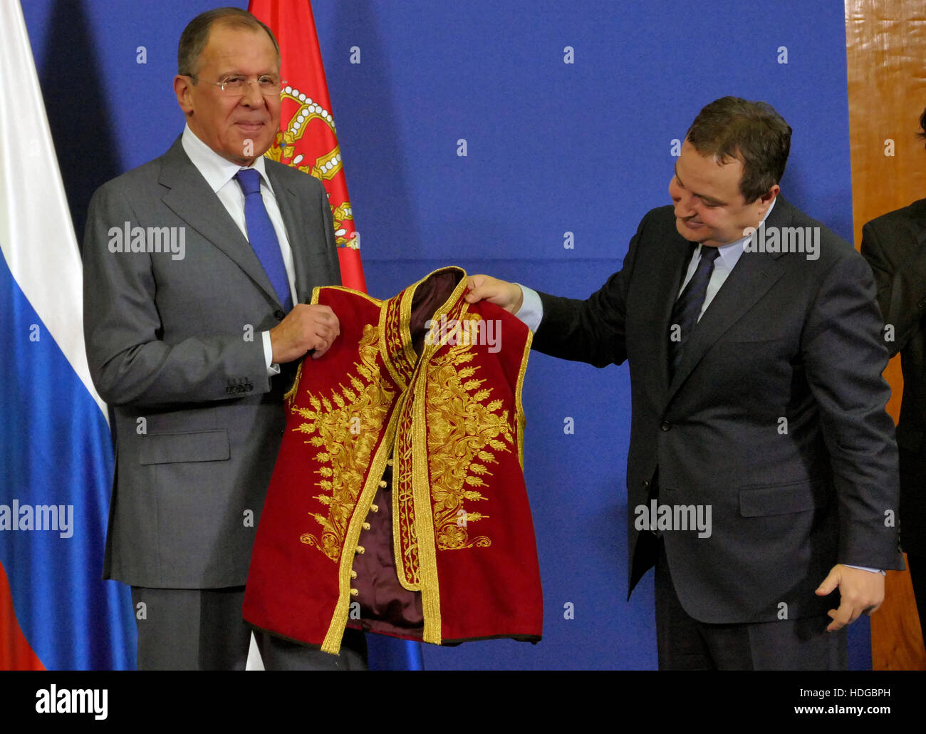 Belgrade, Serbia. December 12th 2016: Joint press conference of Russian and Serbian Foreign Ministers, Ivica Dacic - Stock Image