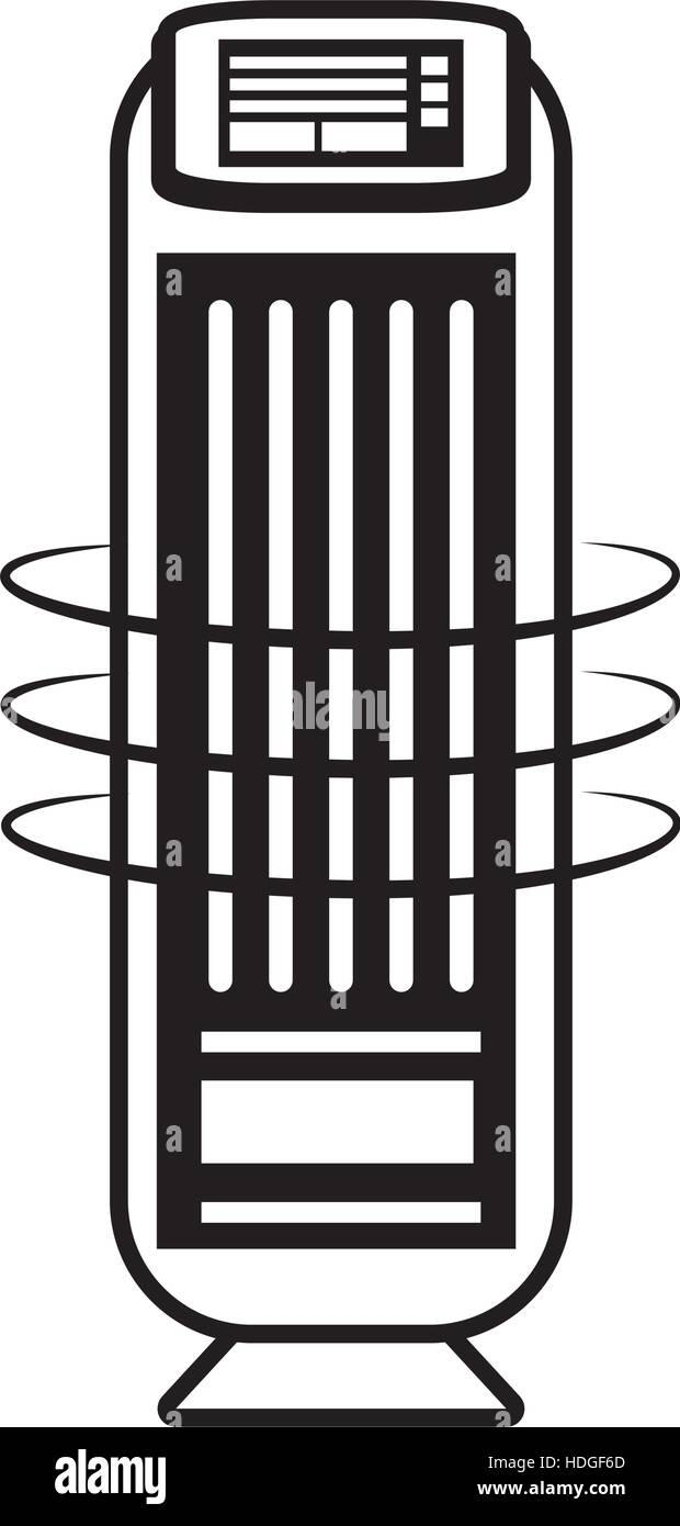 tower fan room house appliance outline vector illustration eps 10 - Stock Vector
