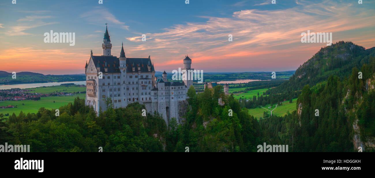 Neuschwanstein Panorama Sunset - Stock Image