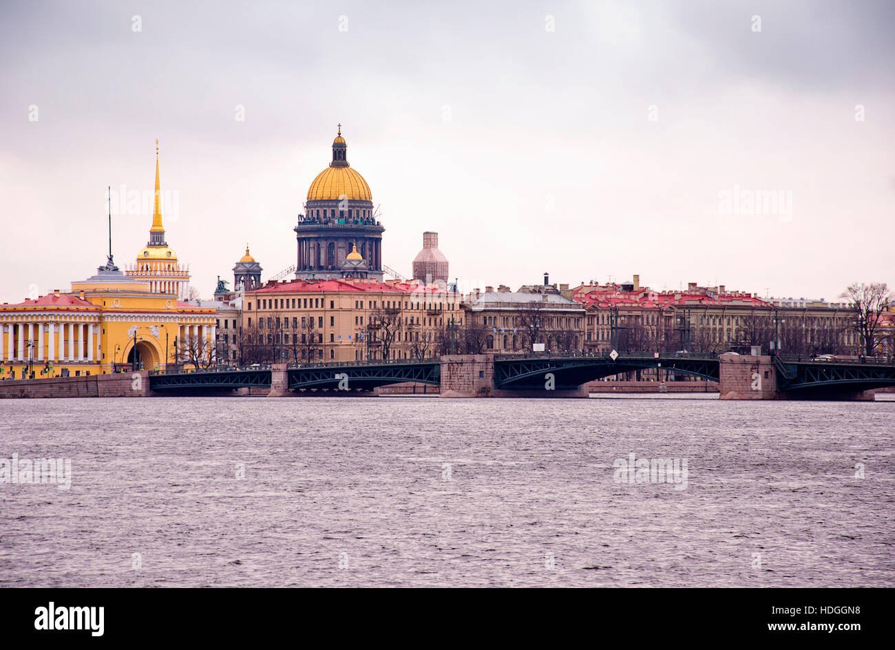 View by the Saint Isaac's Cathedral from Neva river, St. Petersburg, Russia Stock Photo