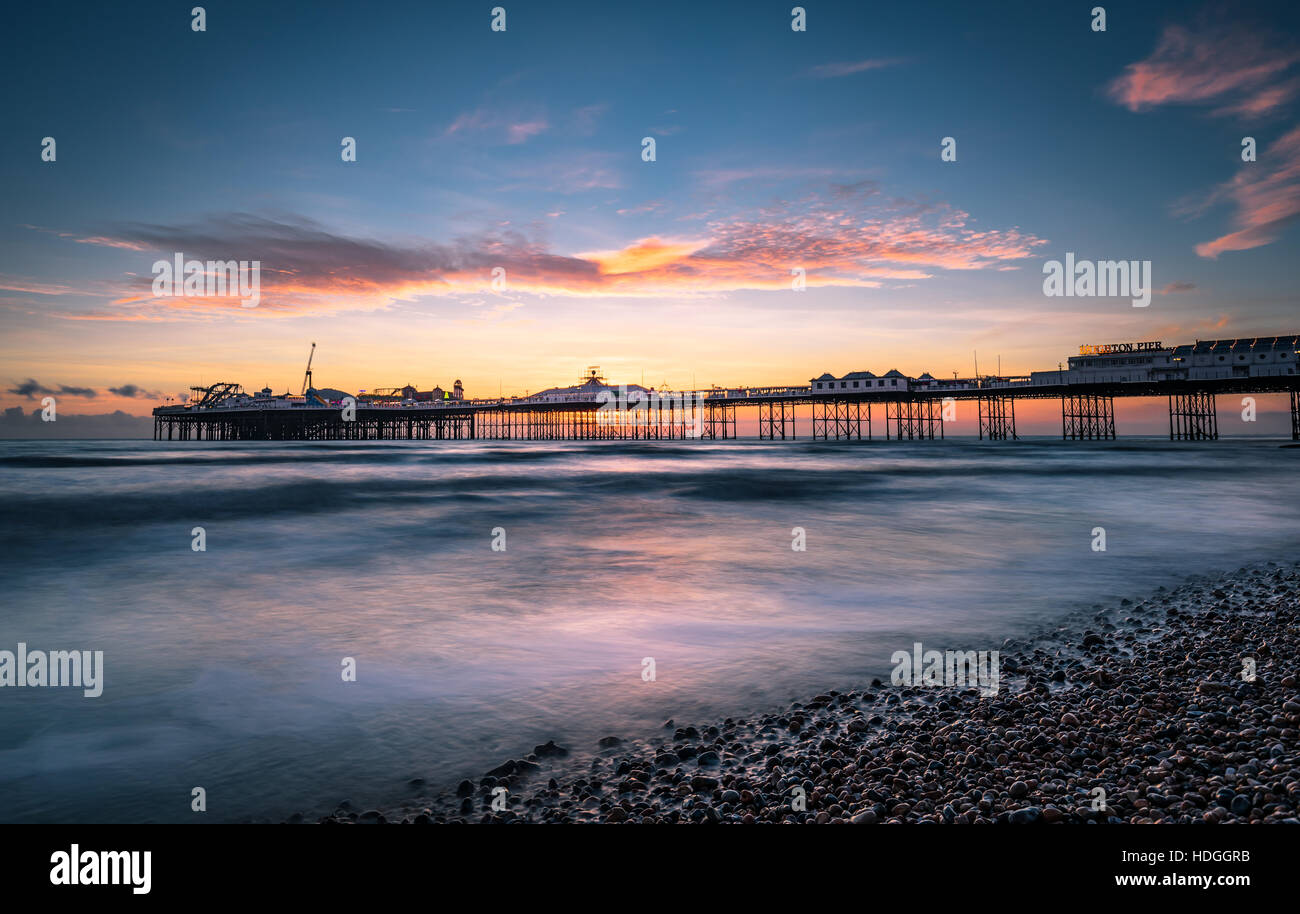 Brighton Palace Pier at sunset Stock Photo