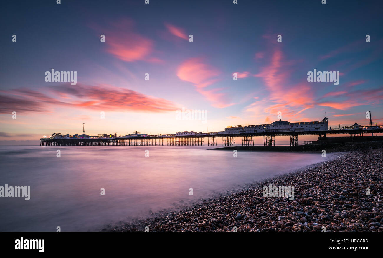 Brighton Palace Pier at sunset - Stock Image