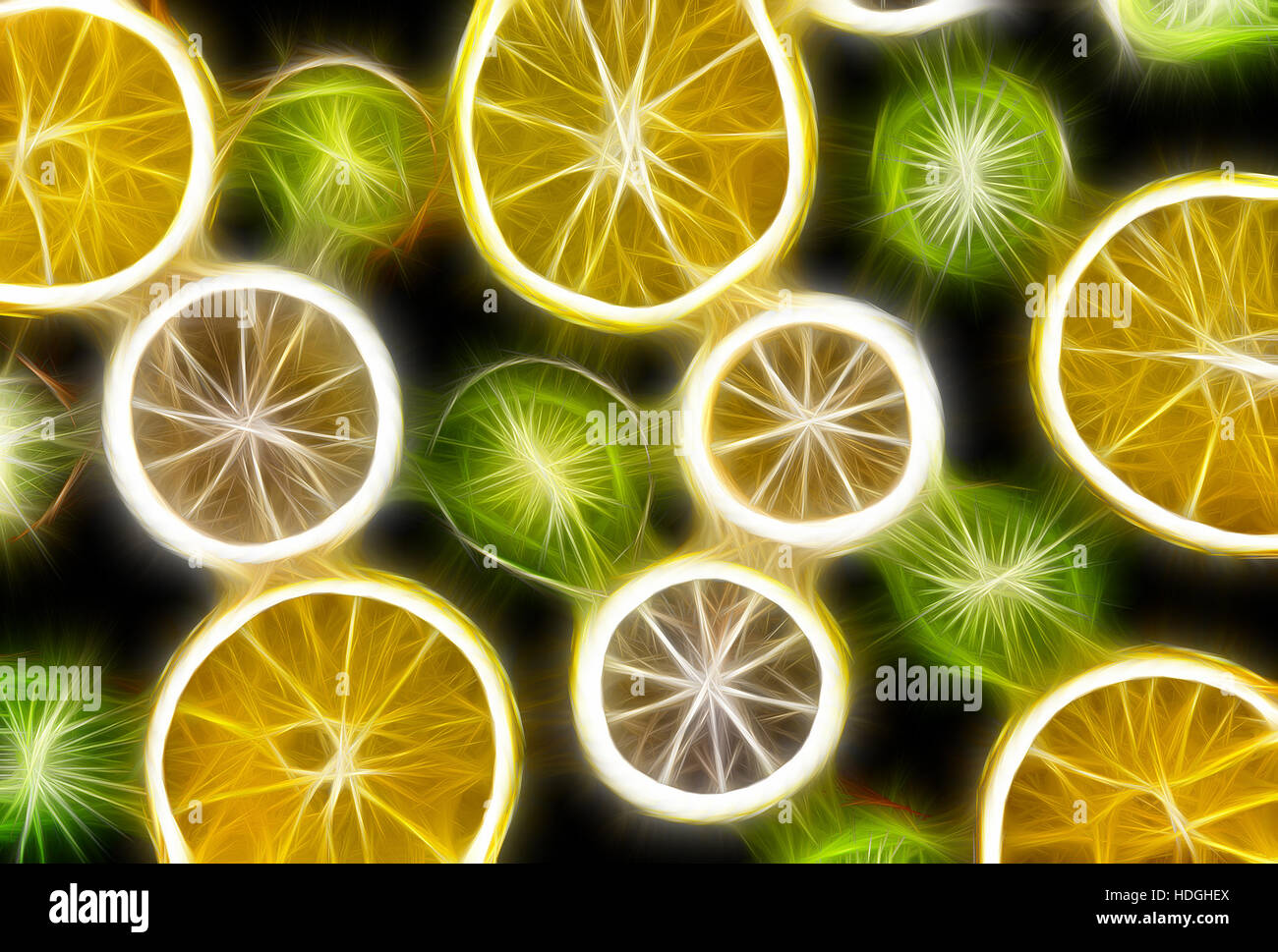 Background texture-fruit mix: lemon, orange, kiwi on black background. - Stock Image