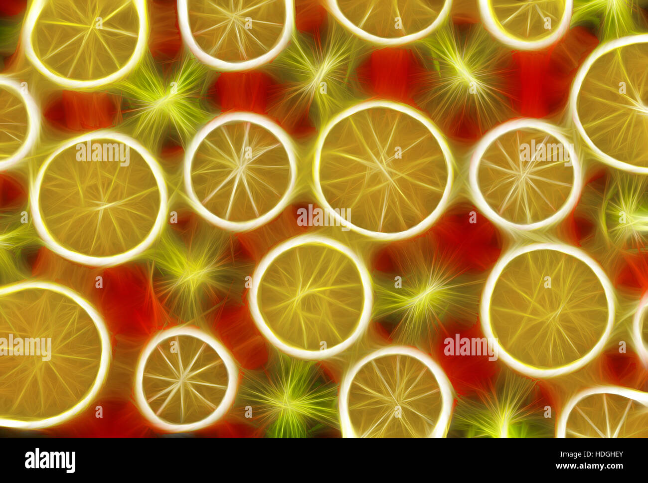 Background texture-fruit mix: lemon, orange, kiwi on red background. - Stock Image