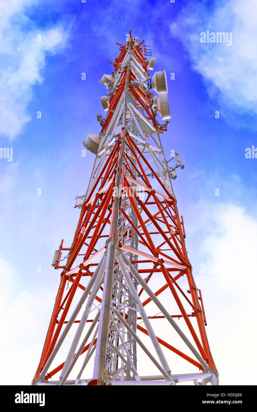Radio Relay Link, Mobile Base Station of Mobile Operator (BTS) - Stock Image