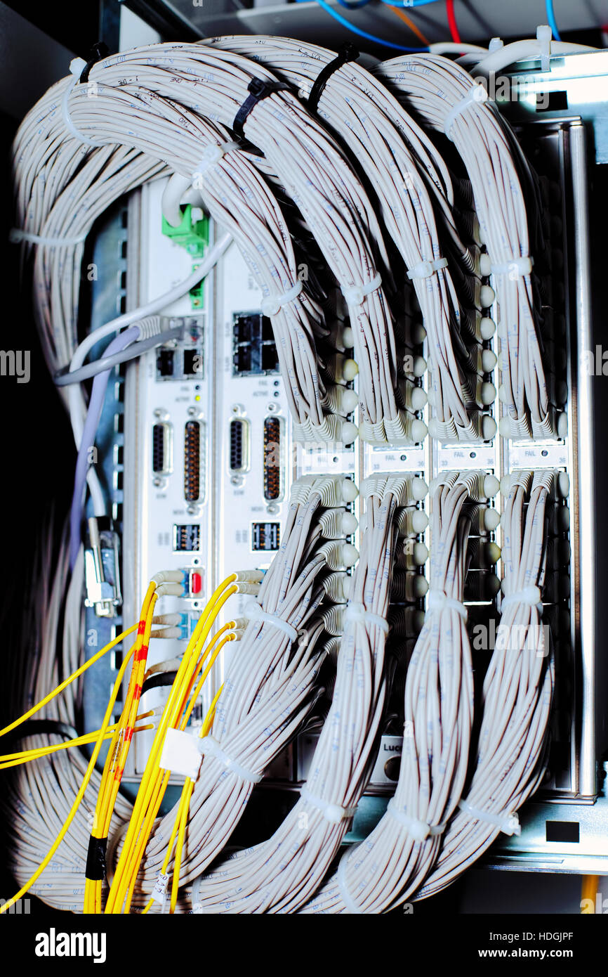 Telecommunication equipment of network cables in a datacenter of ...