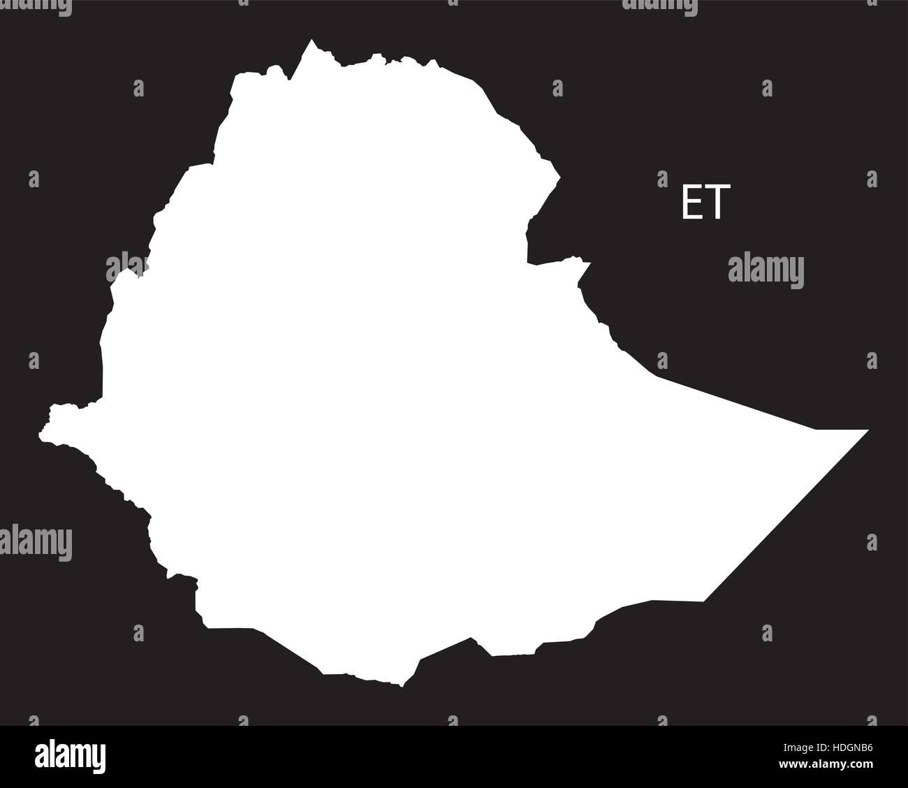 Ethiopia Map black and white illustration - Stock Vector