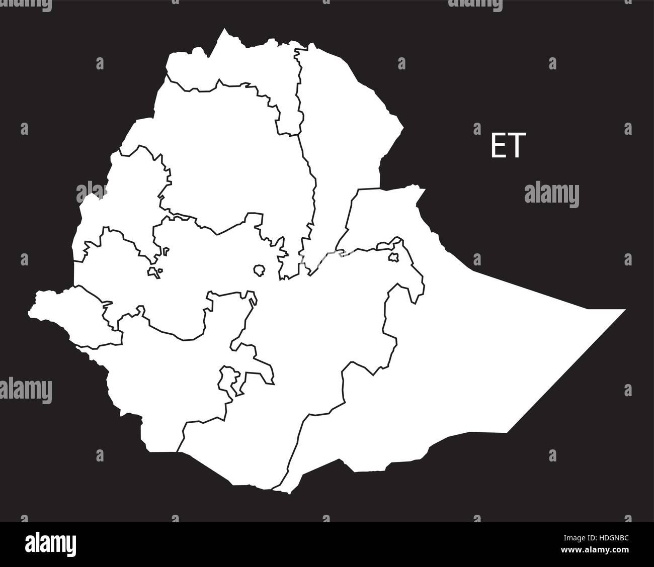 Ethiopia regions Map black and white illustration - Stock Vector