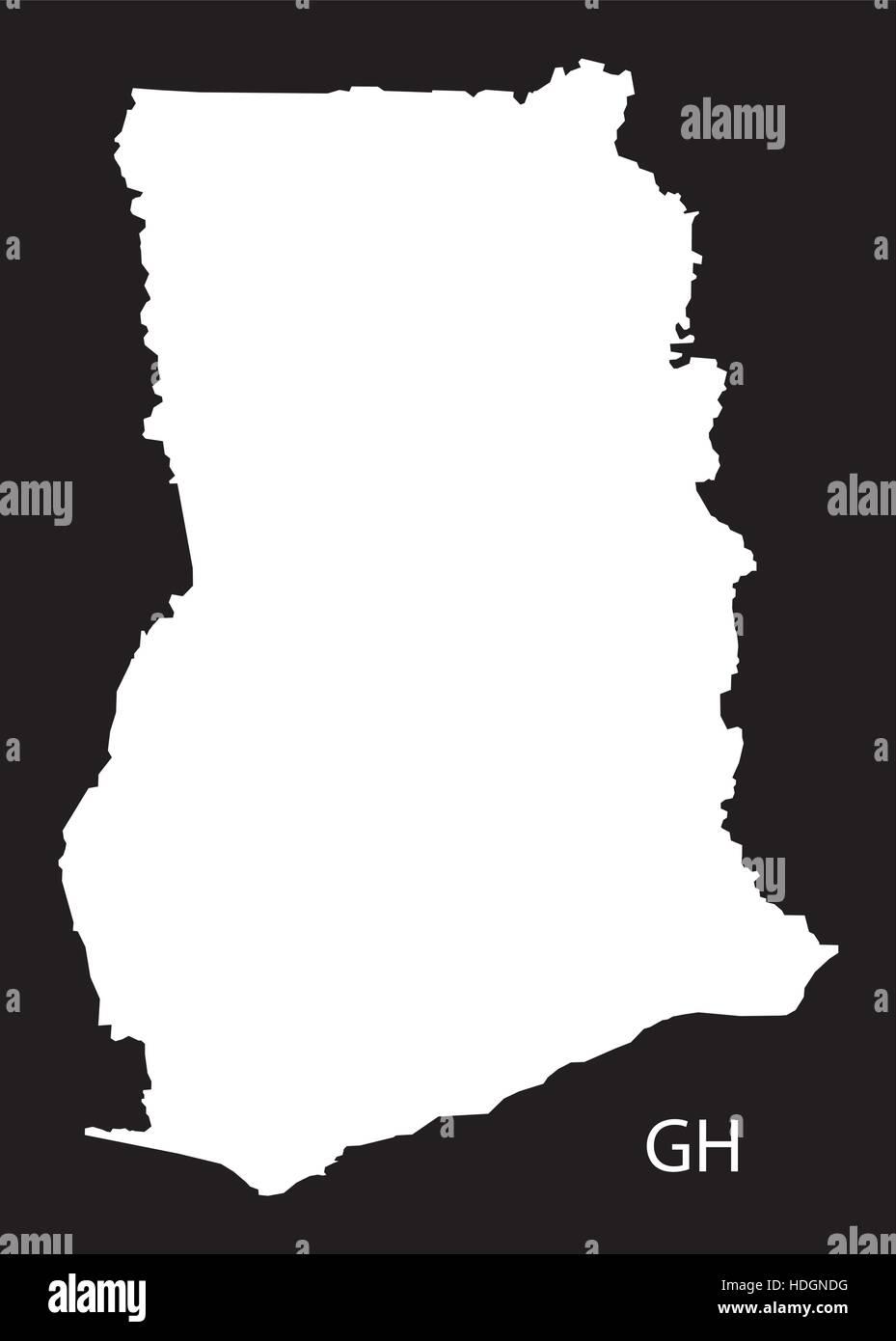 Ghana Map black and white illustration - Stock Vector