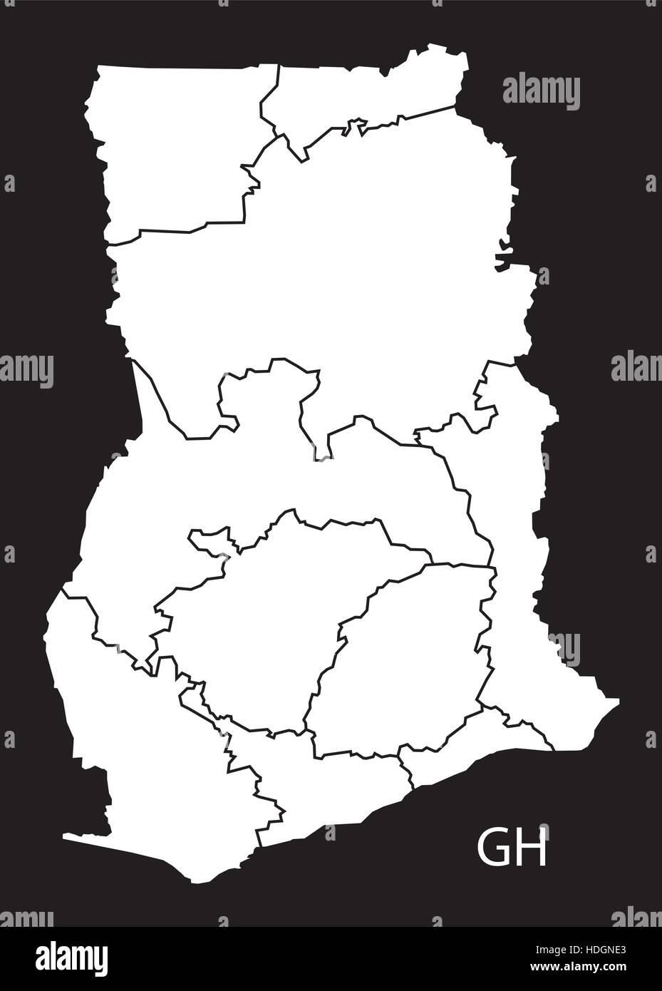 Ghana regions Map black and white illustration - Stock Vector