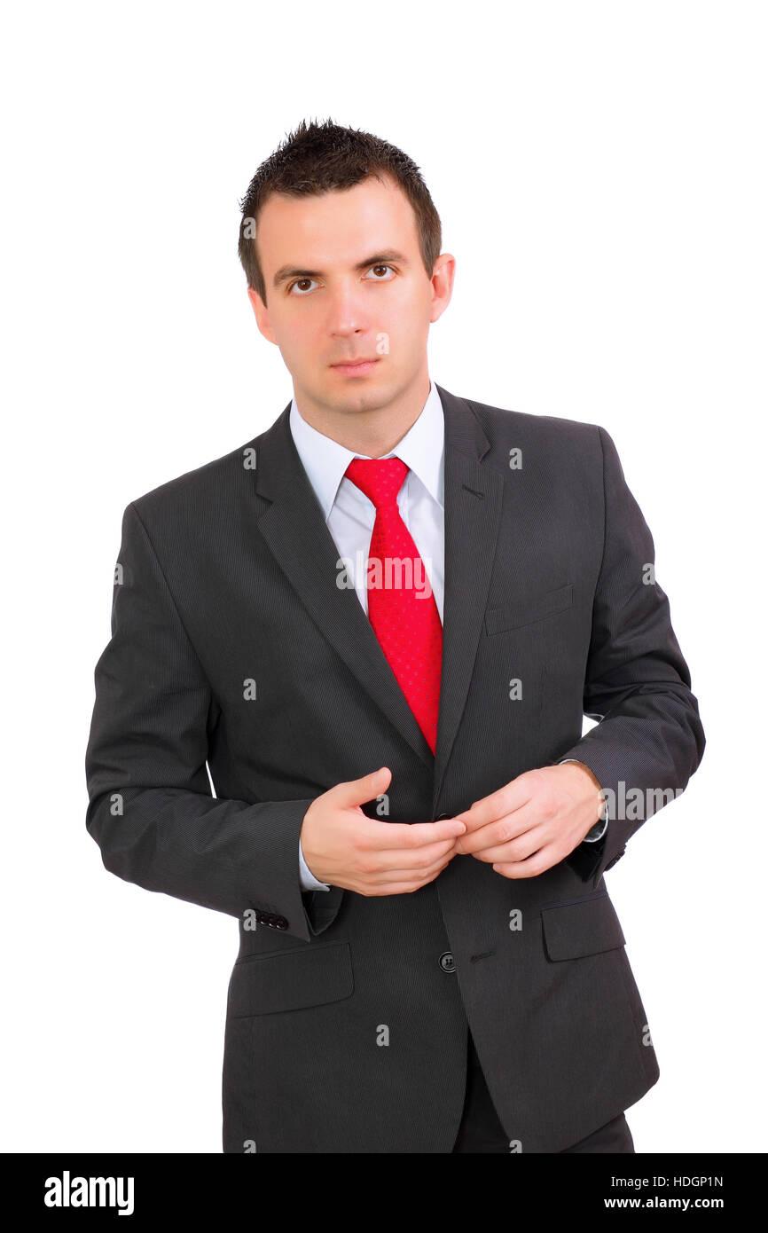 Caucasian businessman - in pensiveness condition. Isolation over white - Stock Image