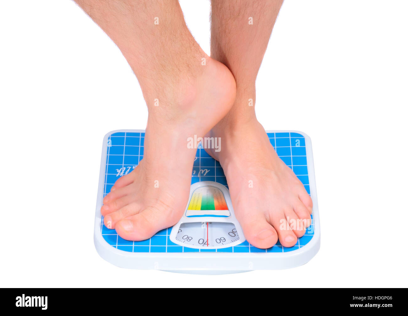 Man's legs , which weighed on floor scale. Isolated over white - Stock Image
