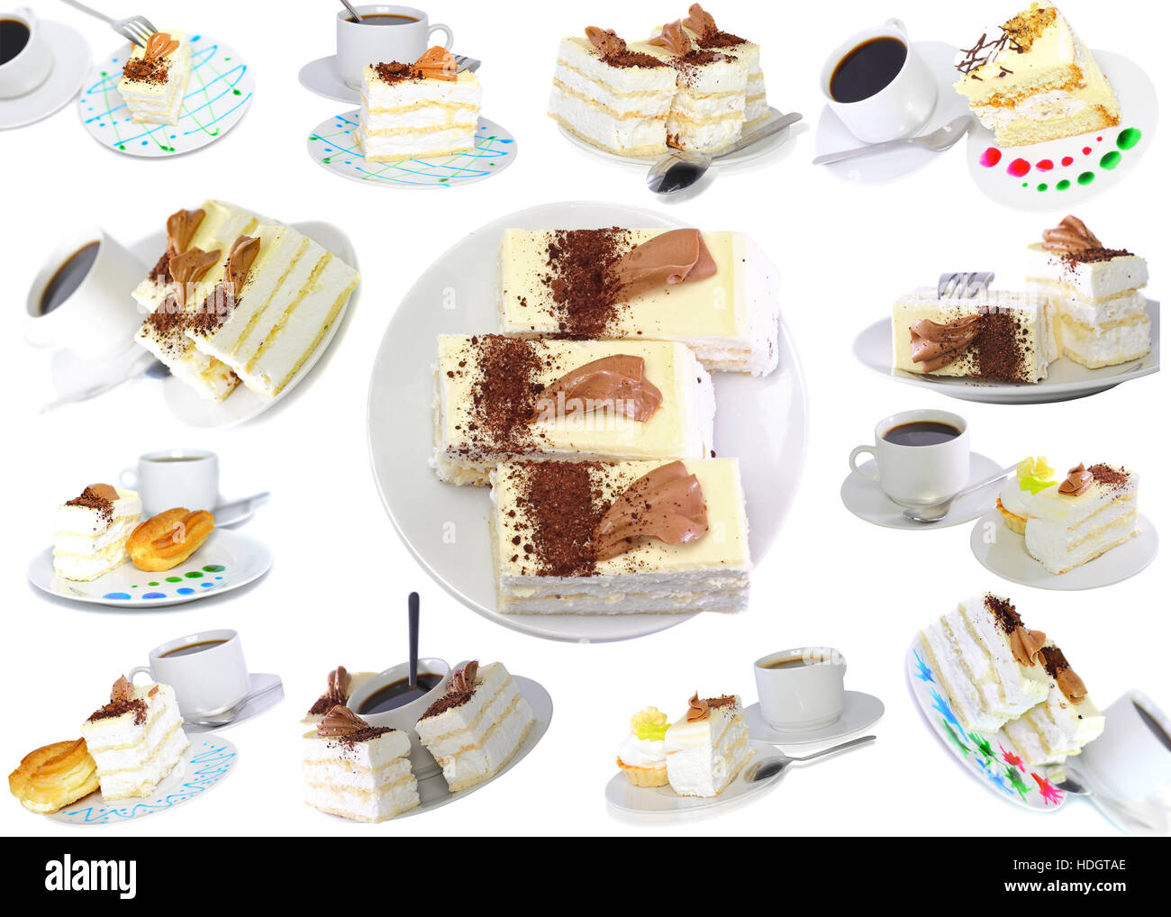 Collection-various cakes on plate with fruits, strawberrys. Isolated - Stock Image