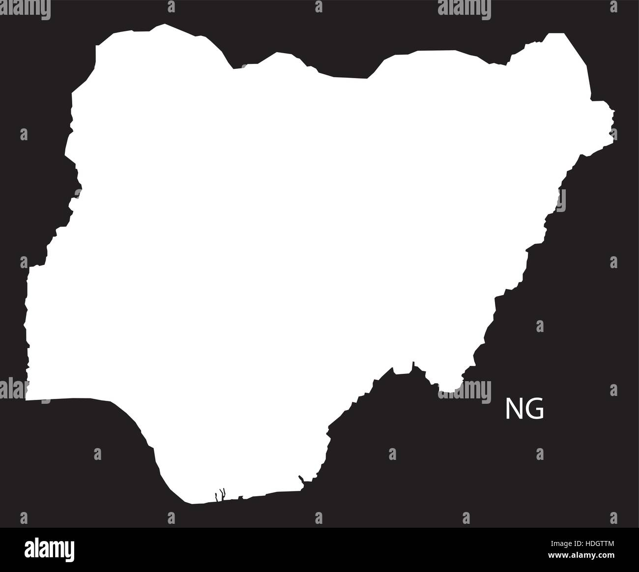Nigeria Map black and white illustration - Stock Vector