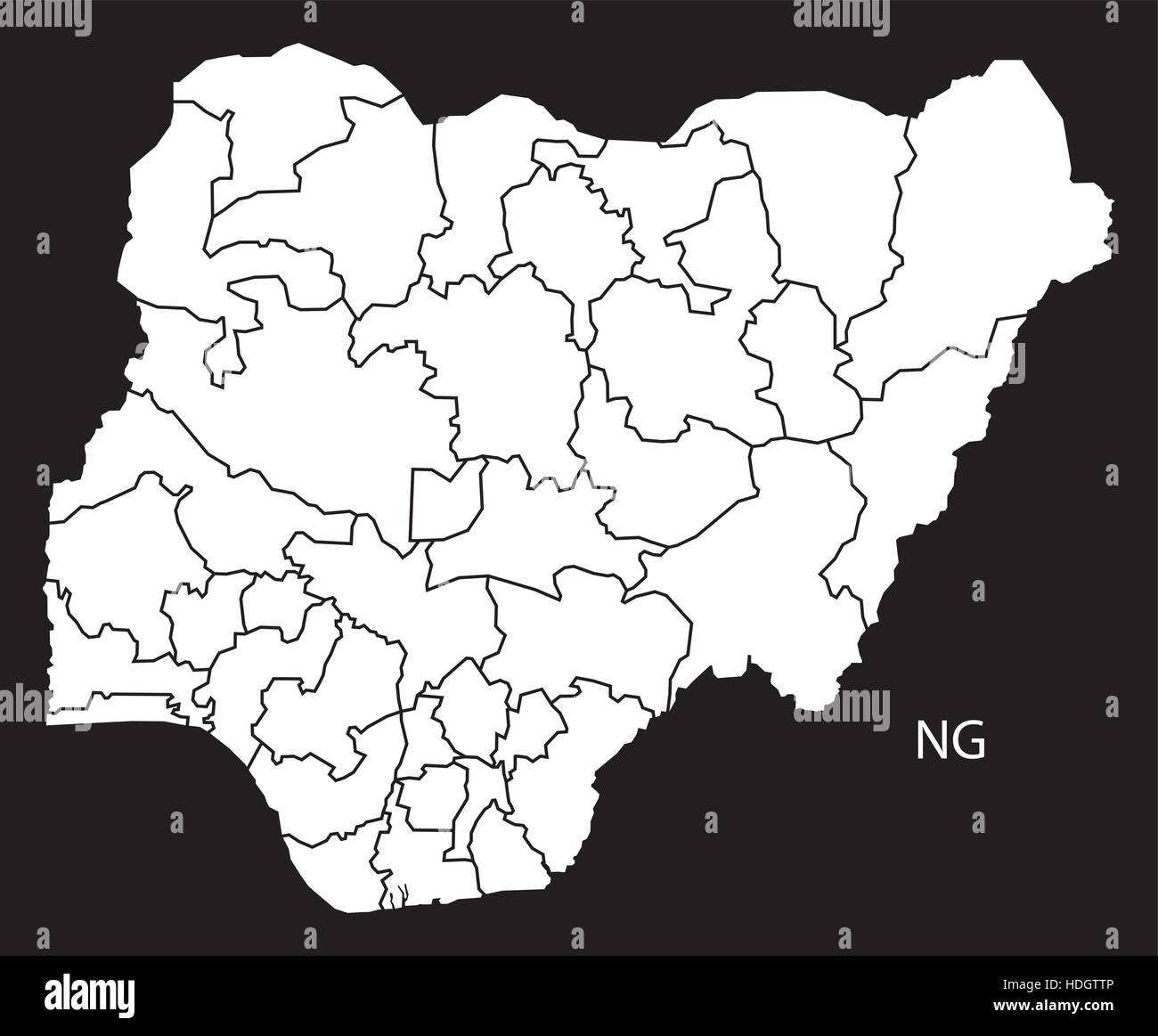 Nigeria provinces Map black and white illustration - Stock Vector