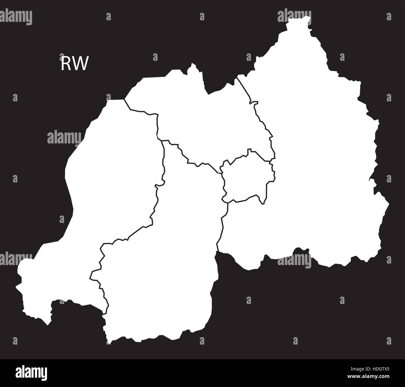 Rwanda provinces Map black and white illustration - Stock Vector