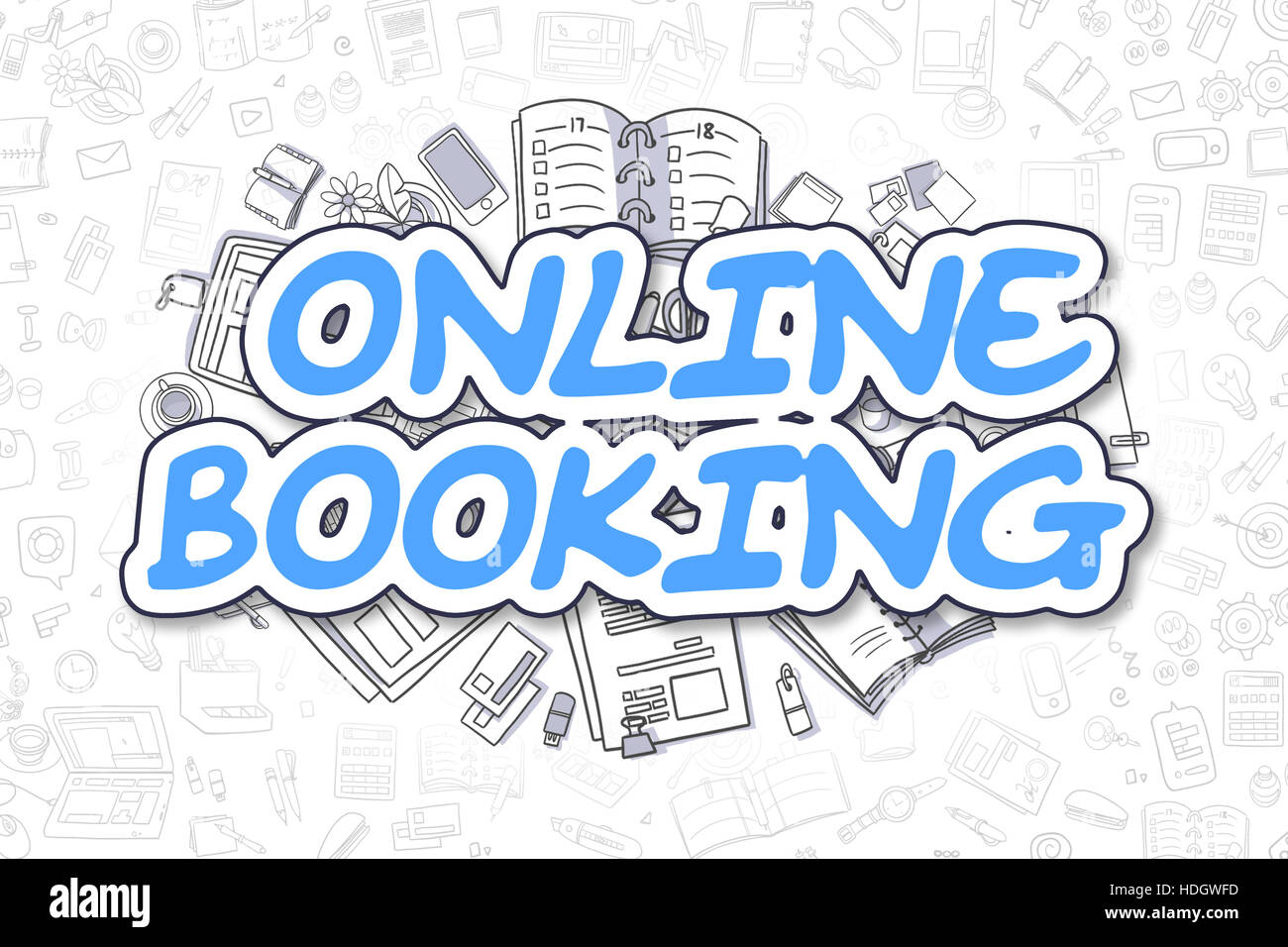 Online Booking - Cartoon Blue Text. Business Concept. - Stock Image