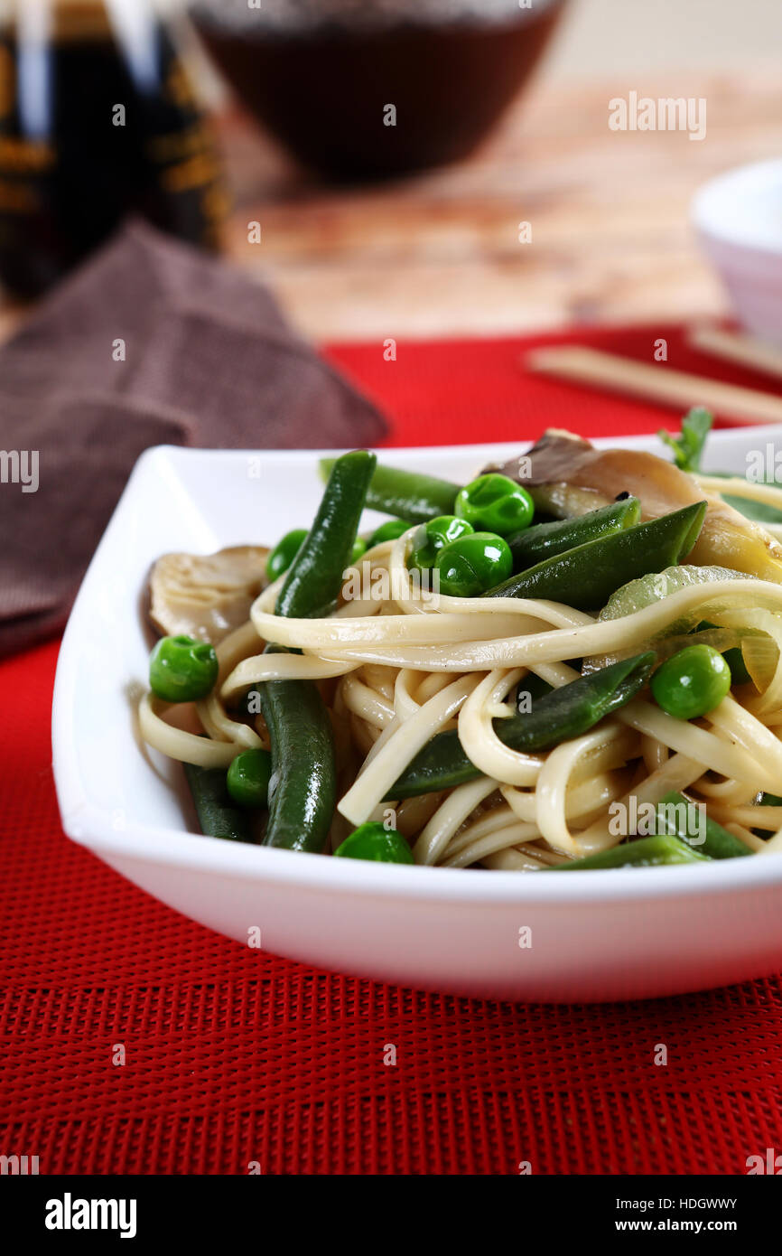 Noodles with green beans, food - Stock Image
