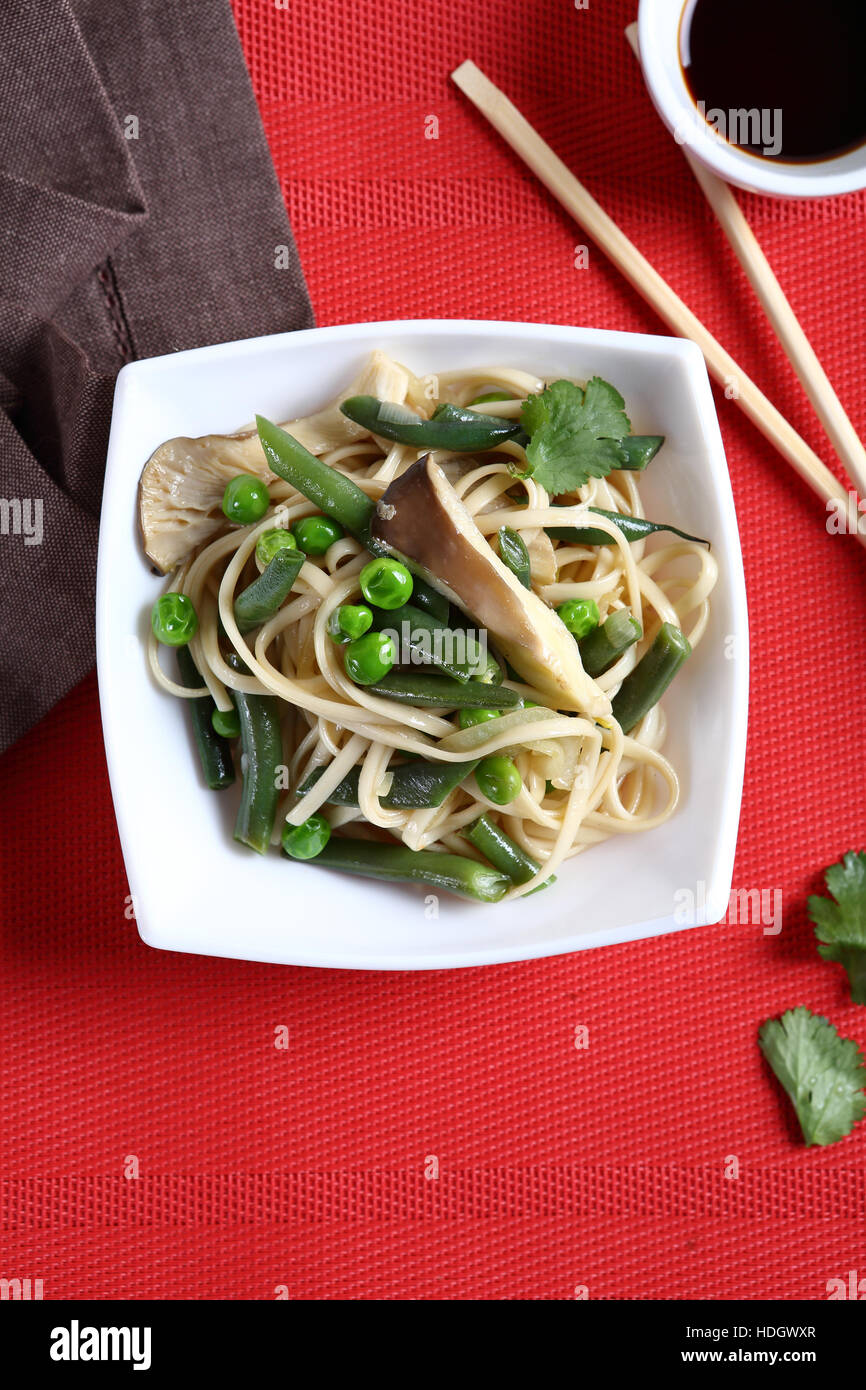 Nutritional Noodles on the plate, food - Stock Image