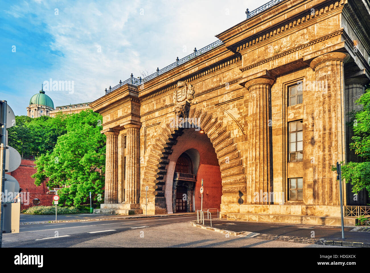 Road Tunnel near Funicular to Royal Castle Hill. Budapest. Hungary. Stock Photo