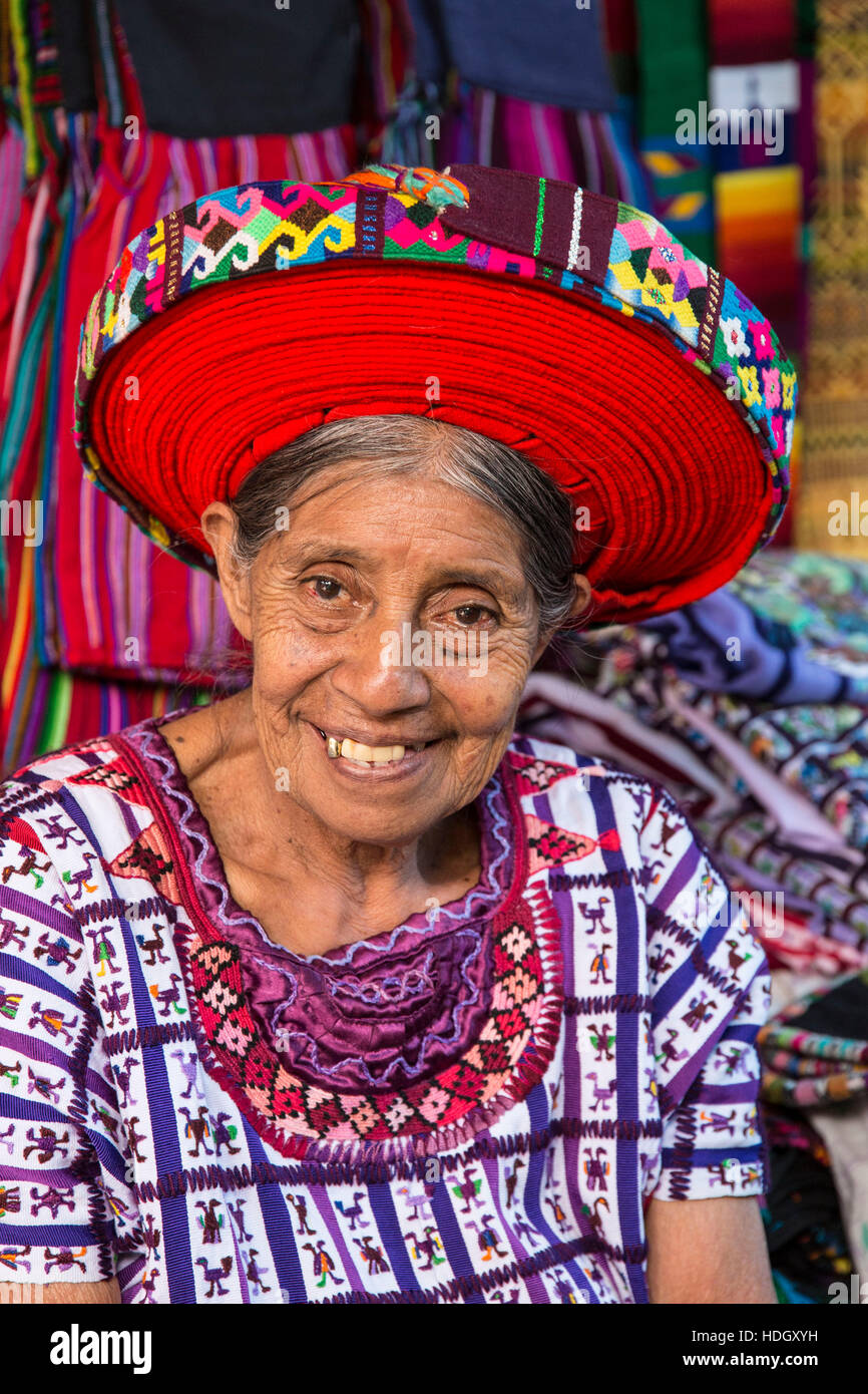 An older Mayan woman wearing traditional dress, including a tocoyal or head wrap tyipical of Santiago Antitlan. - Stock Image