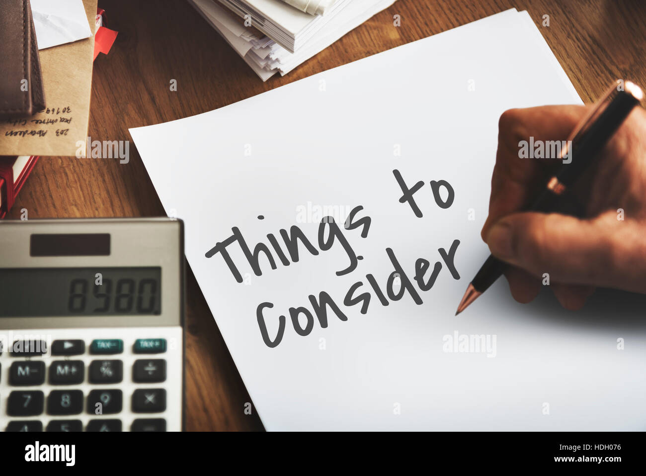 Things To Consider Work Concept - Stock Image
