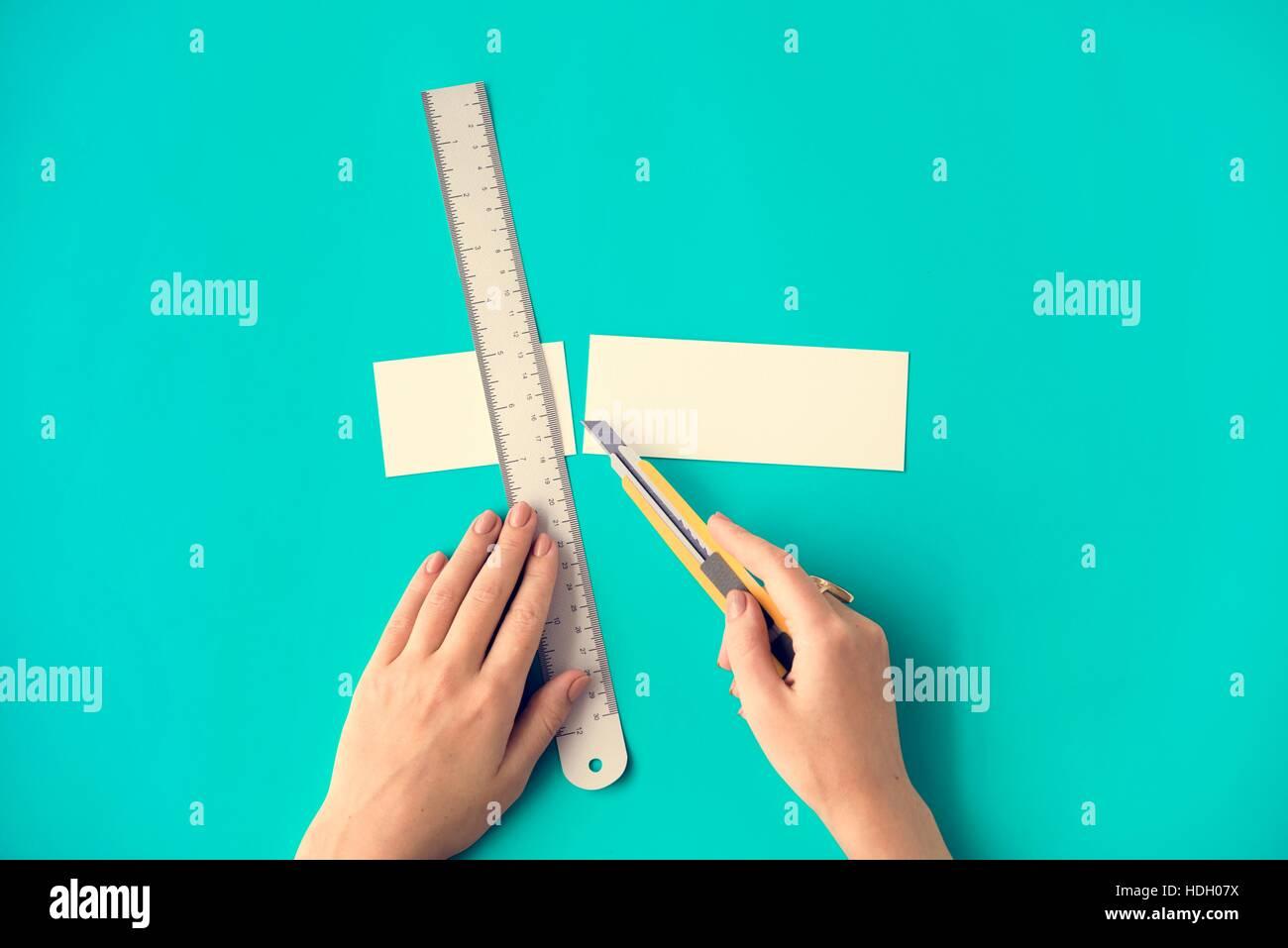 Cutter Ruler Paper Art Color Design Creative Concept - Stock Image