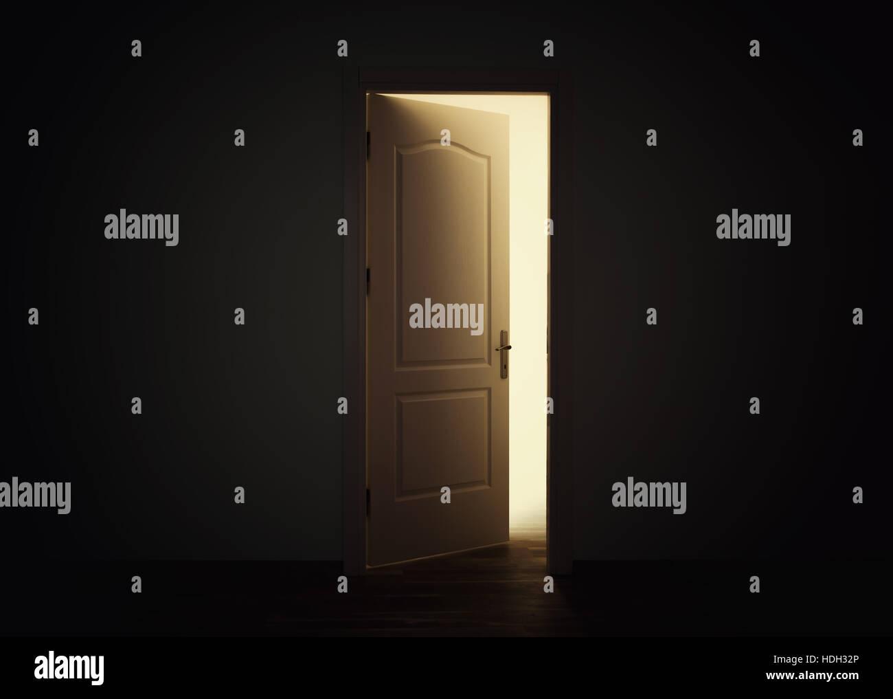 Open door with light in dark room Stock Photo