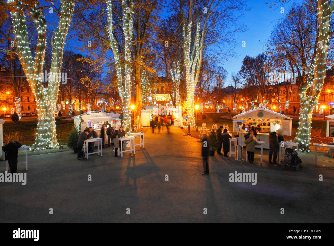 Illuminated Trees On Park Zrinjevac In Christmas Time In Zagreb City Stock Photo Alamy