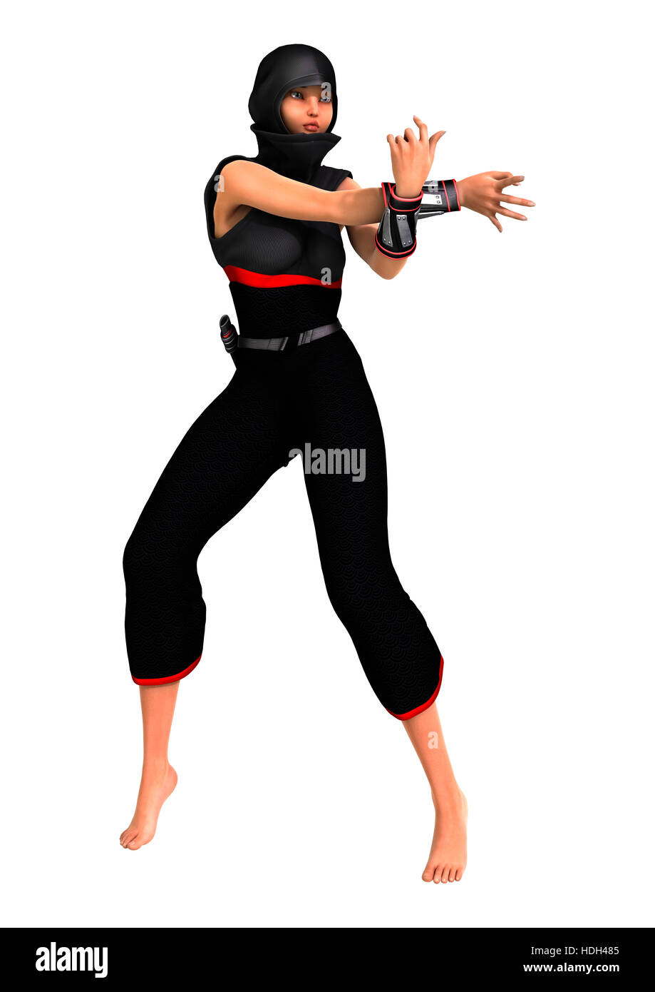 3d Rendering Of A Female Ninja Isolated On White Background Stock