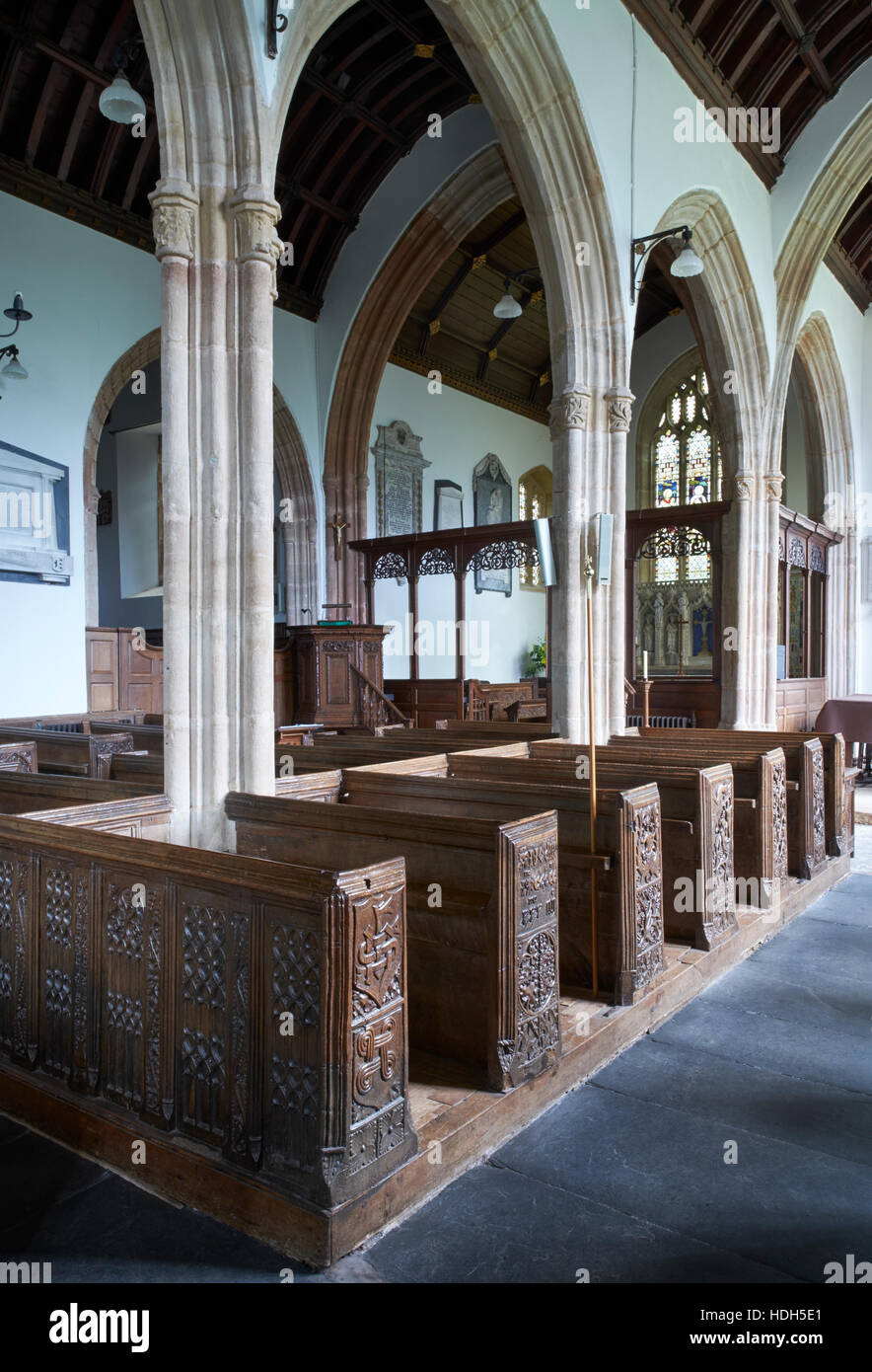 The Church of the Holy Ghost, Crowcombe, Somerset. Interior from the south aisle; looking north east. Wooden 1530s - Stock Image